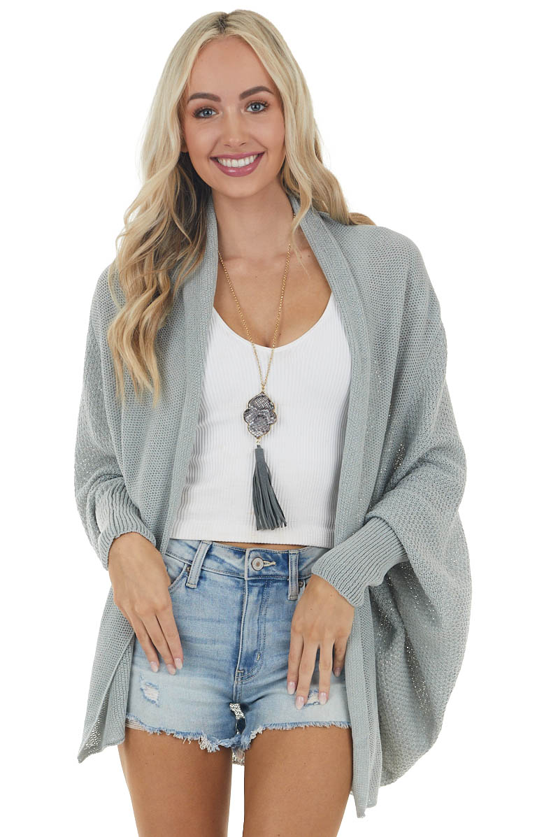 Faded Sage Open Front Knit Cardigan with Dolman Sleeves
