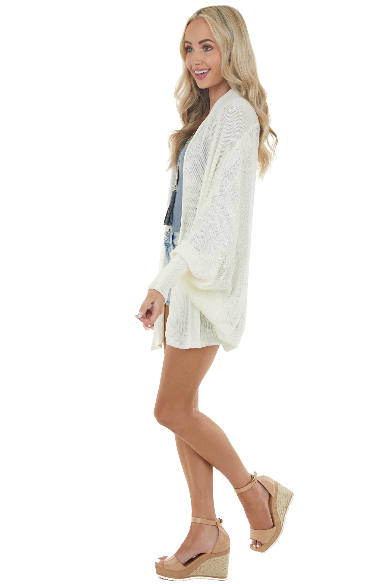 Cream Open Front Knit Cardigan with Dolman Sleeves