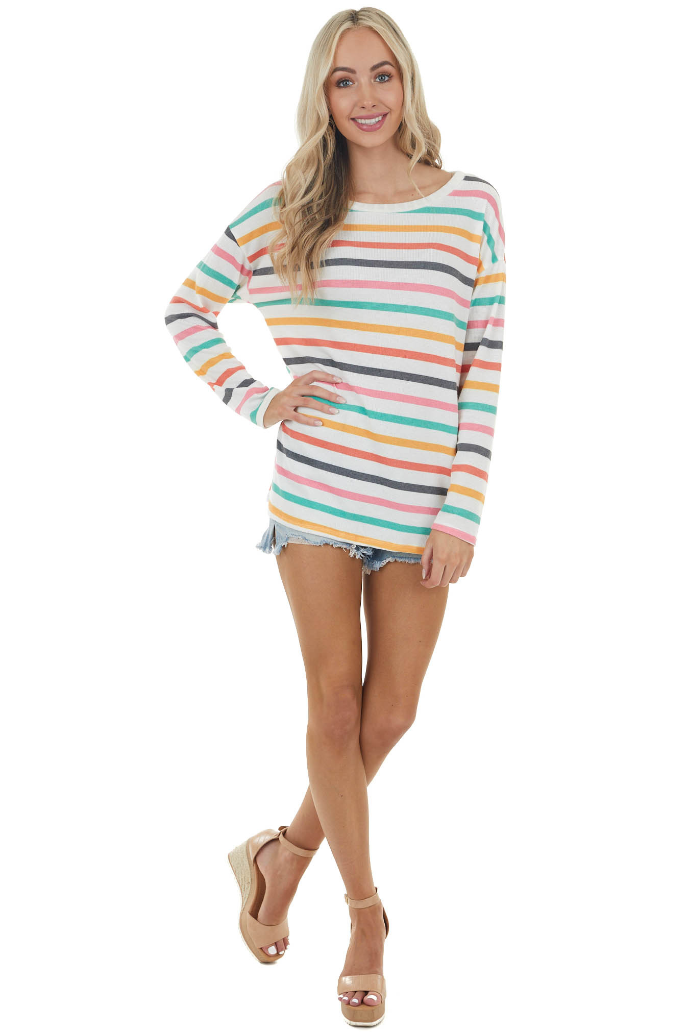 Ivory Multicolor Striped Long Sleeve Knit Top with Boat Neck