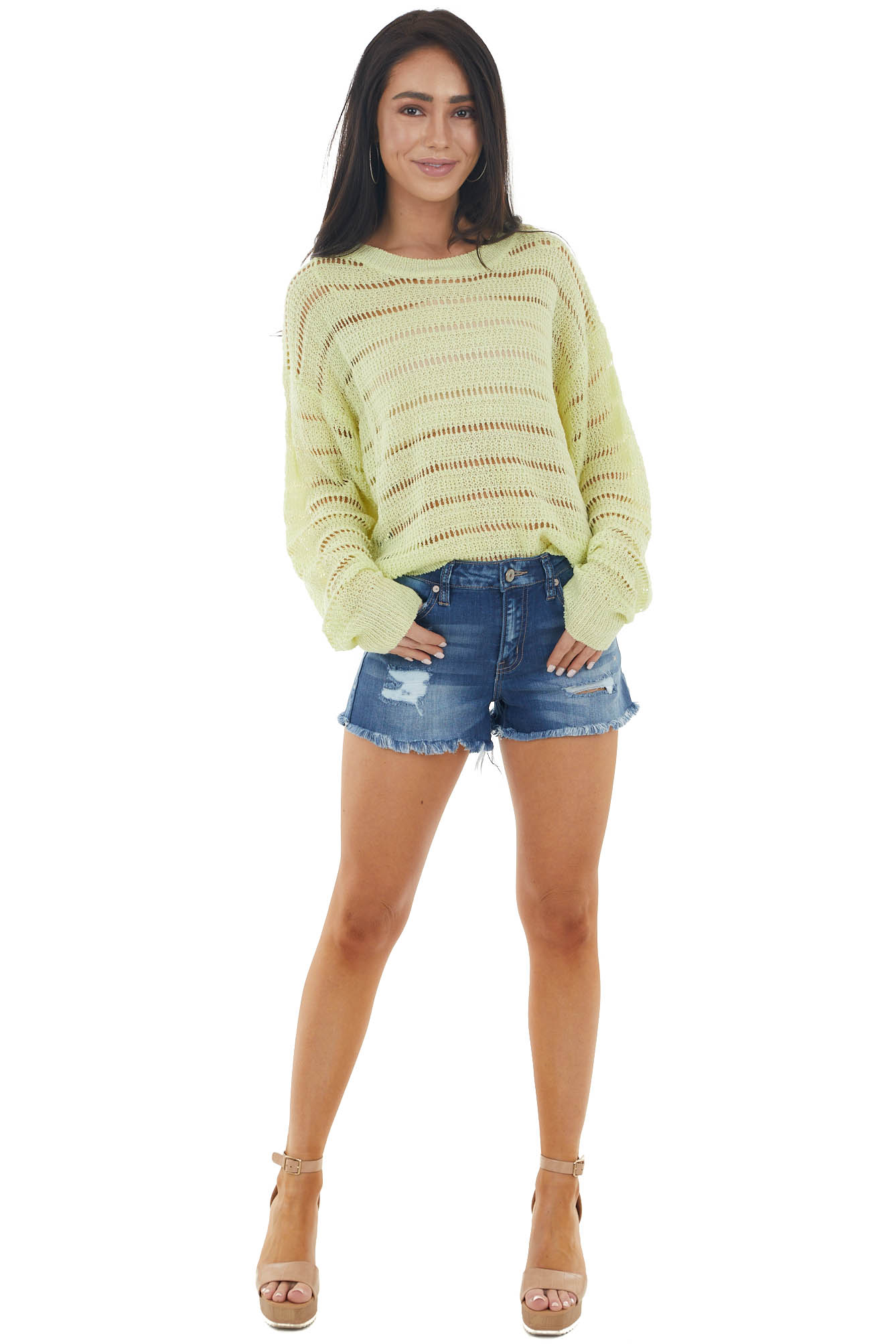 Lime Loose Sheer Knit Lightweight Long Sleeve Sweater