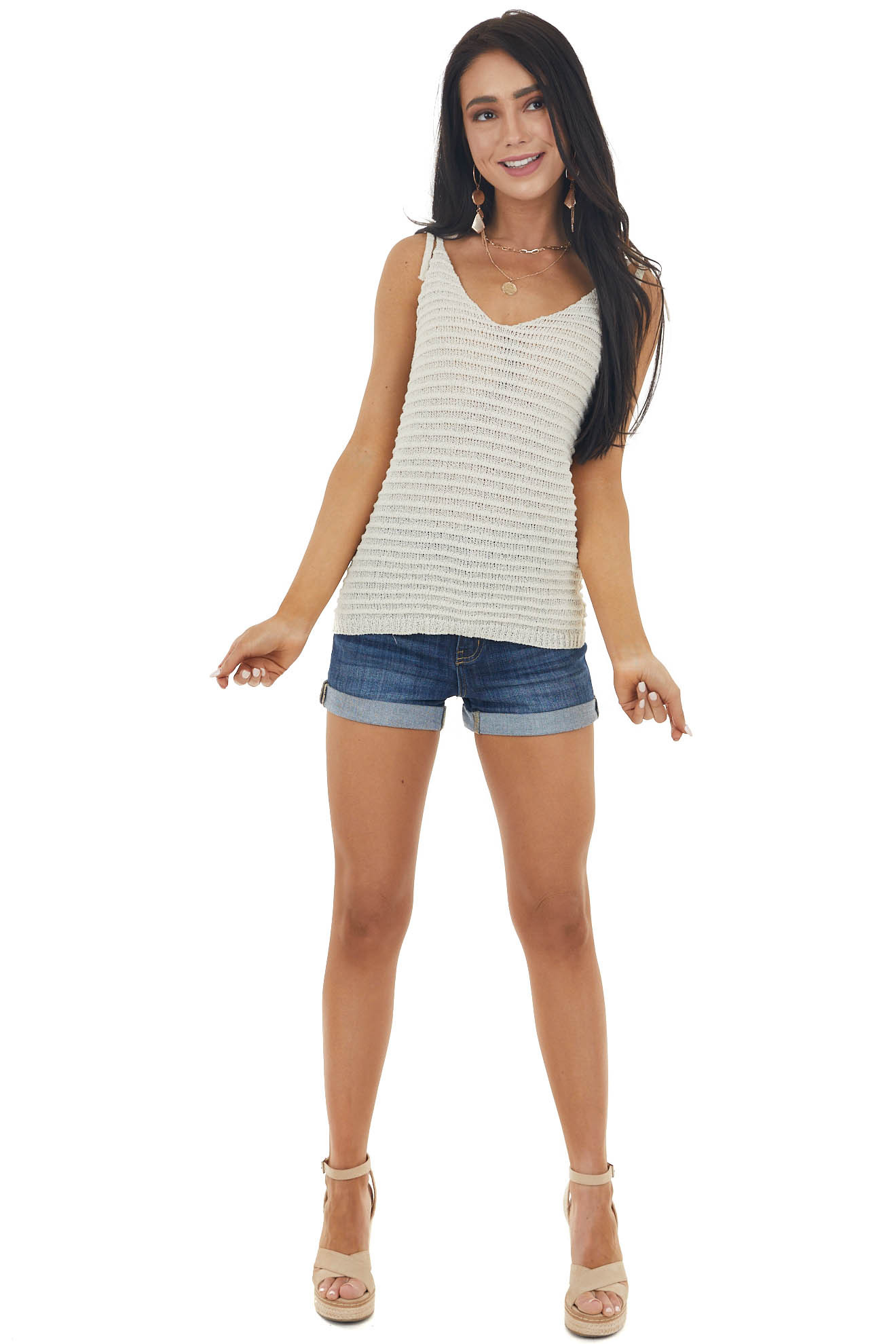 Cream Loose Knit V Neck Tank Top with Tie Closure Straps