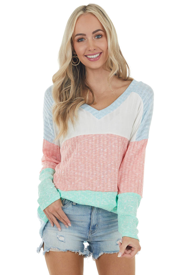 Ivory and Coral Colorblock Knit Top with Textured Ribbing