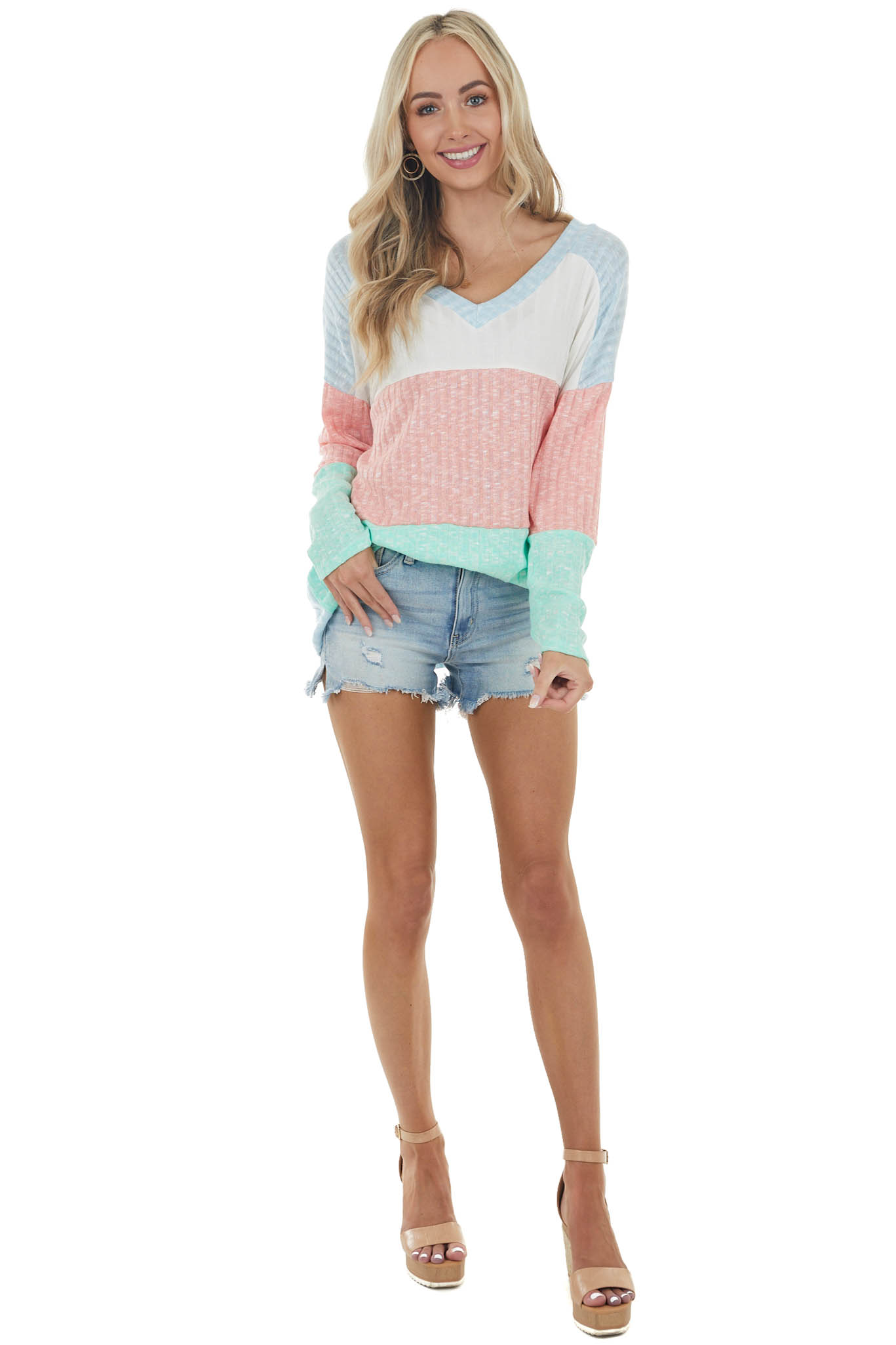 vIvory and Coral Colorblock Knit Top with Textured Ribbing