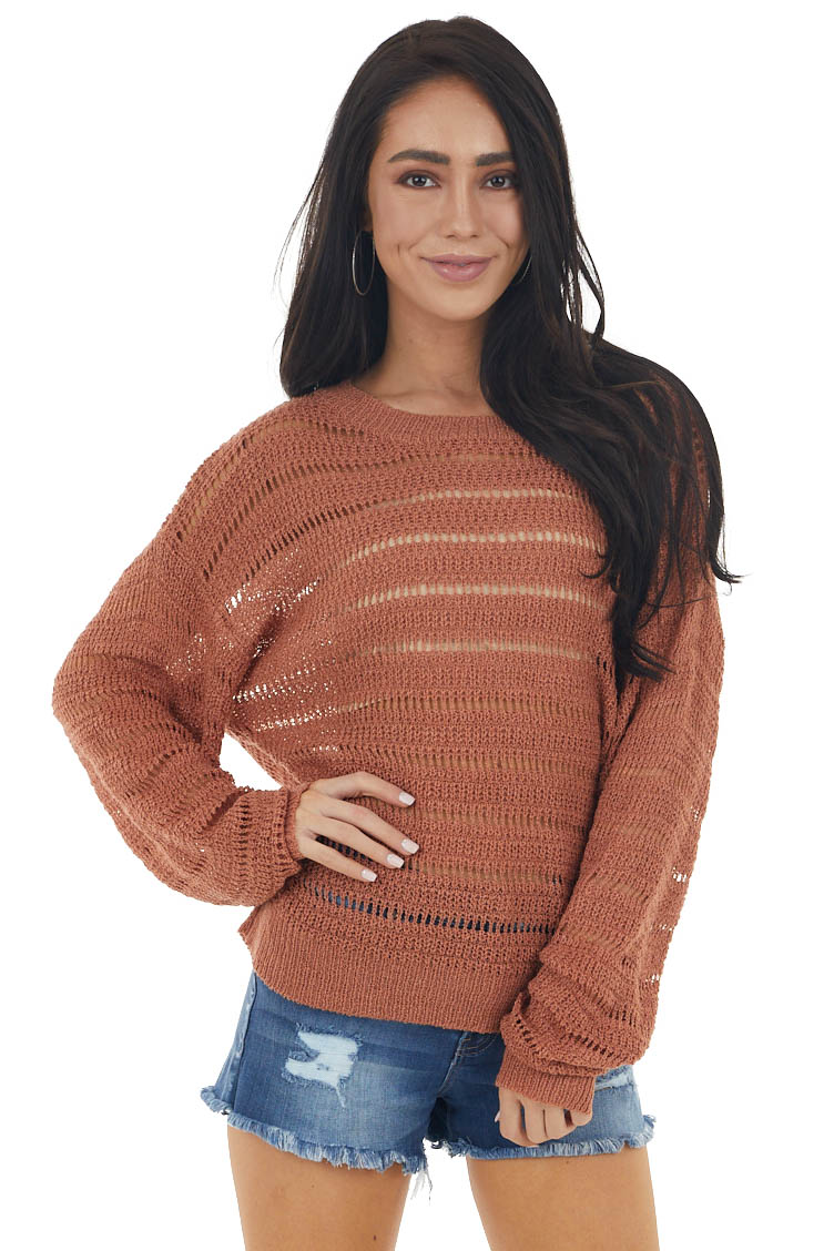 Ginger Loose Sheer Knit Lightweight Long Sleeve Sweater