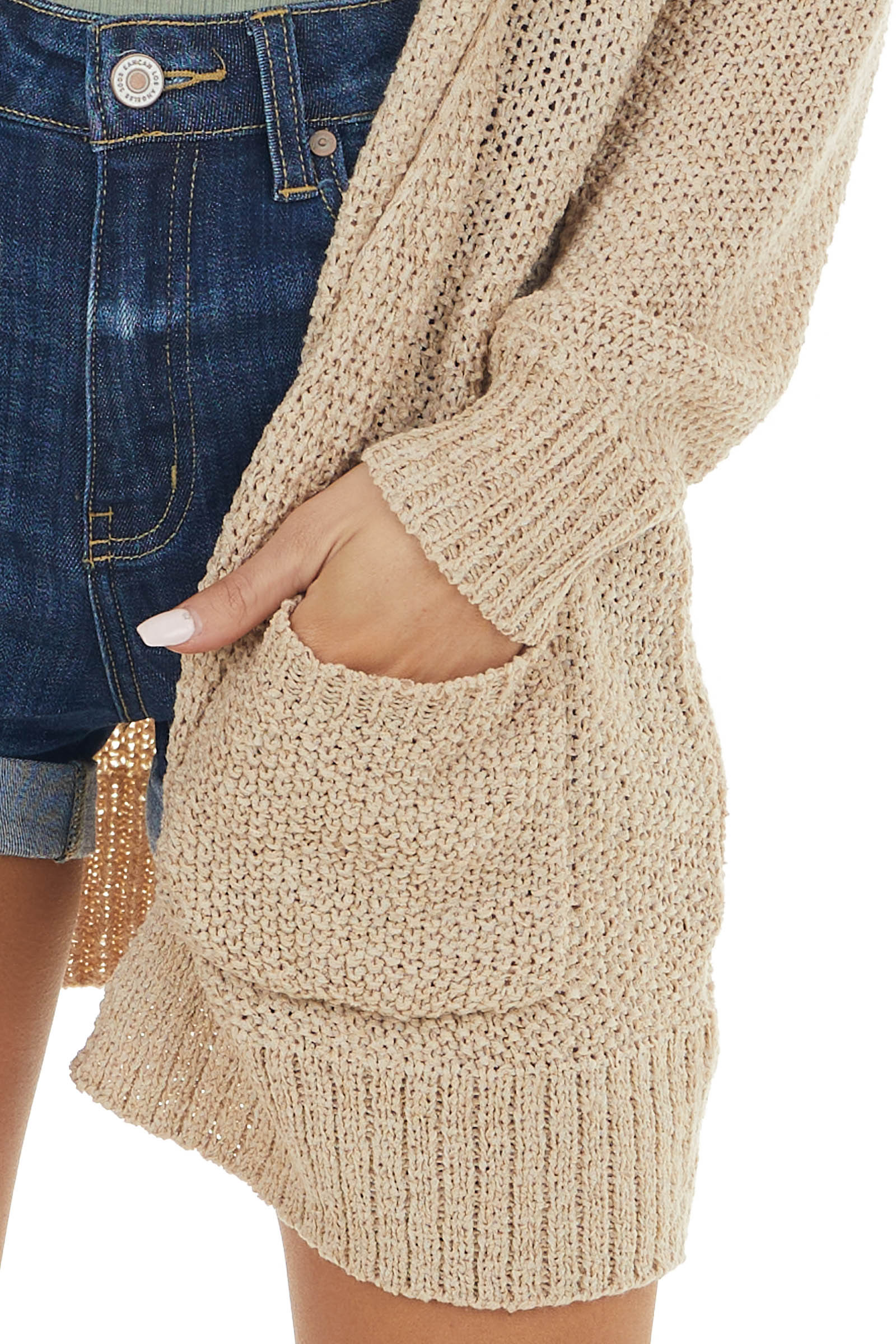 Latte Lightweight Long Sleeve Open Front Cardigan with Hood