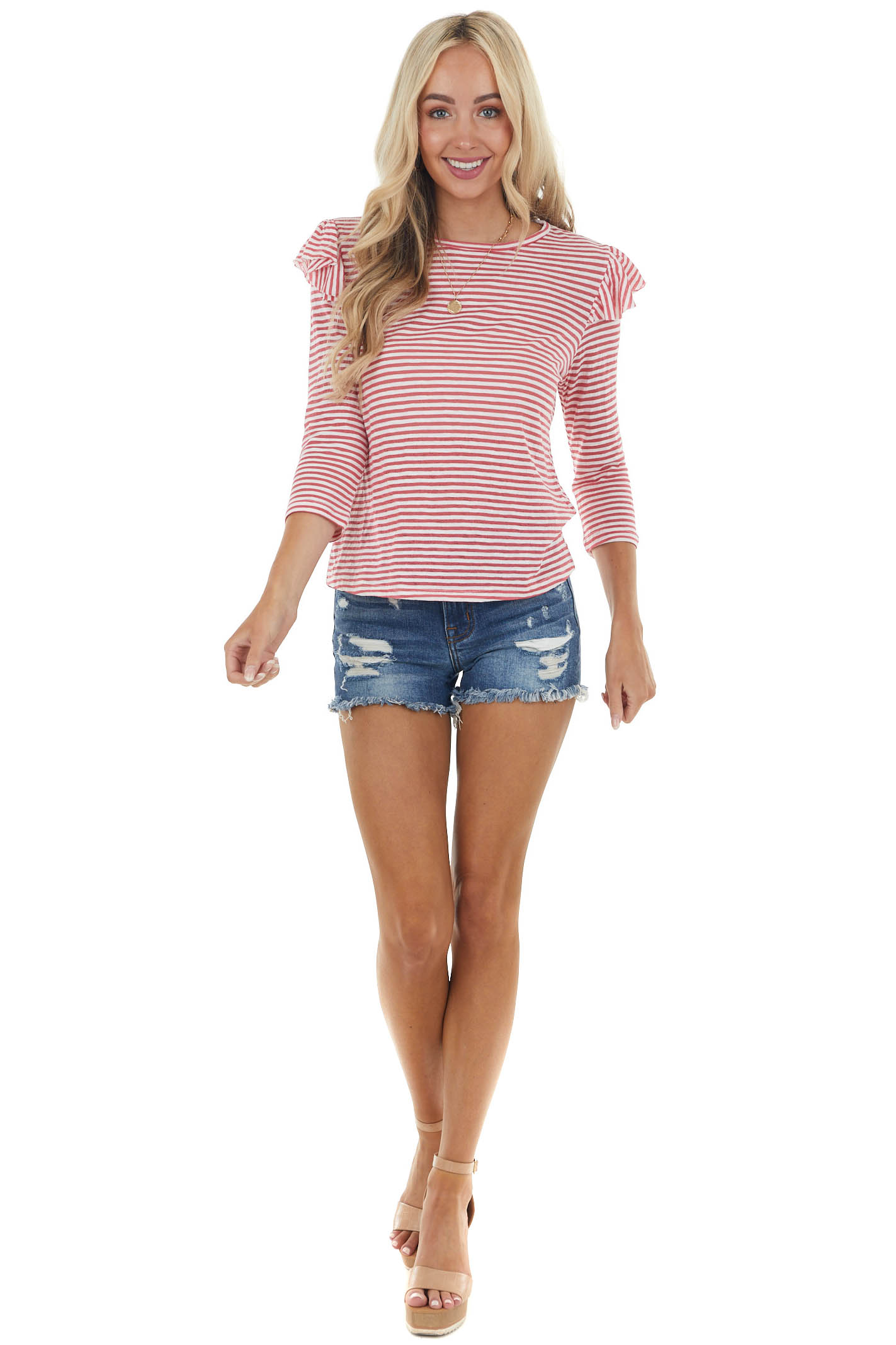 Ruby and Ivory Striped 3/4 Sleeve Top with Ruffled Detail