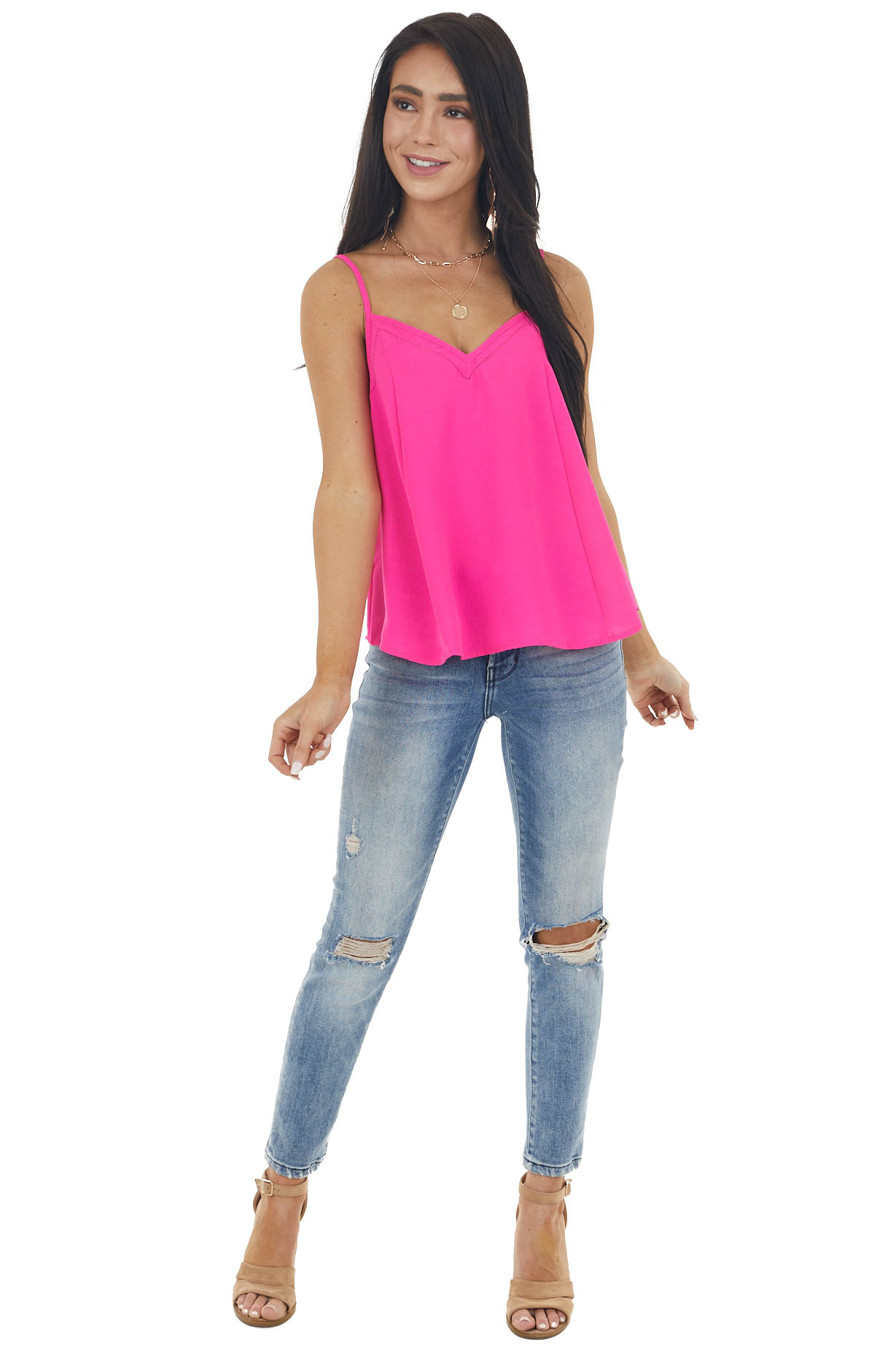 Neon Hot Pink Flowy Cami with Criss Cross Strap Details