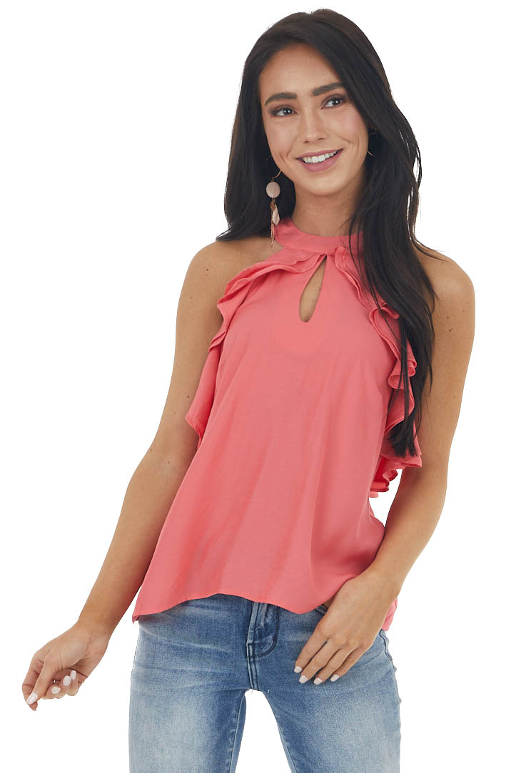 Deep Coral Halter Neck Sleeveless Top with Ruffle Details