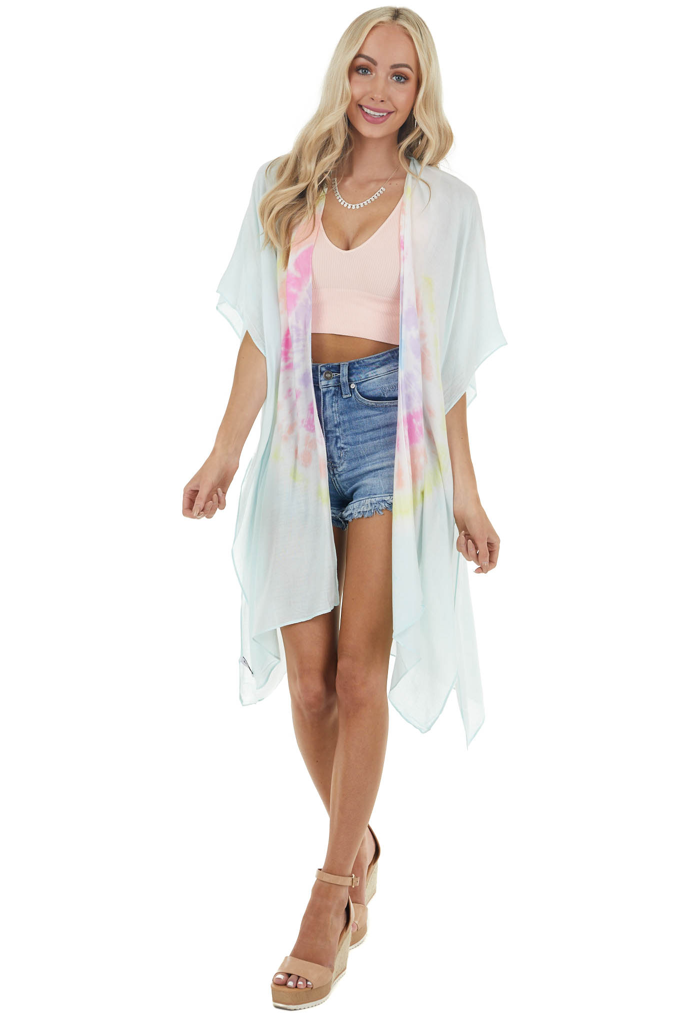 Light Turquoise Tie Dye Open Front Kimono with Side Slits