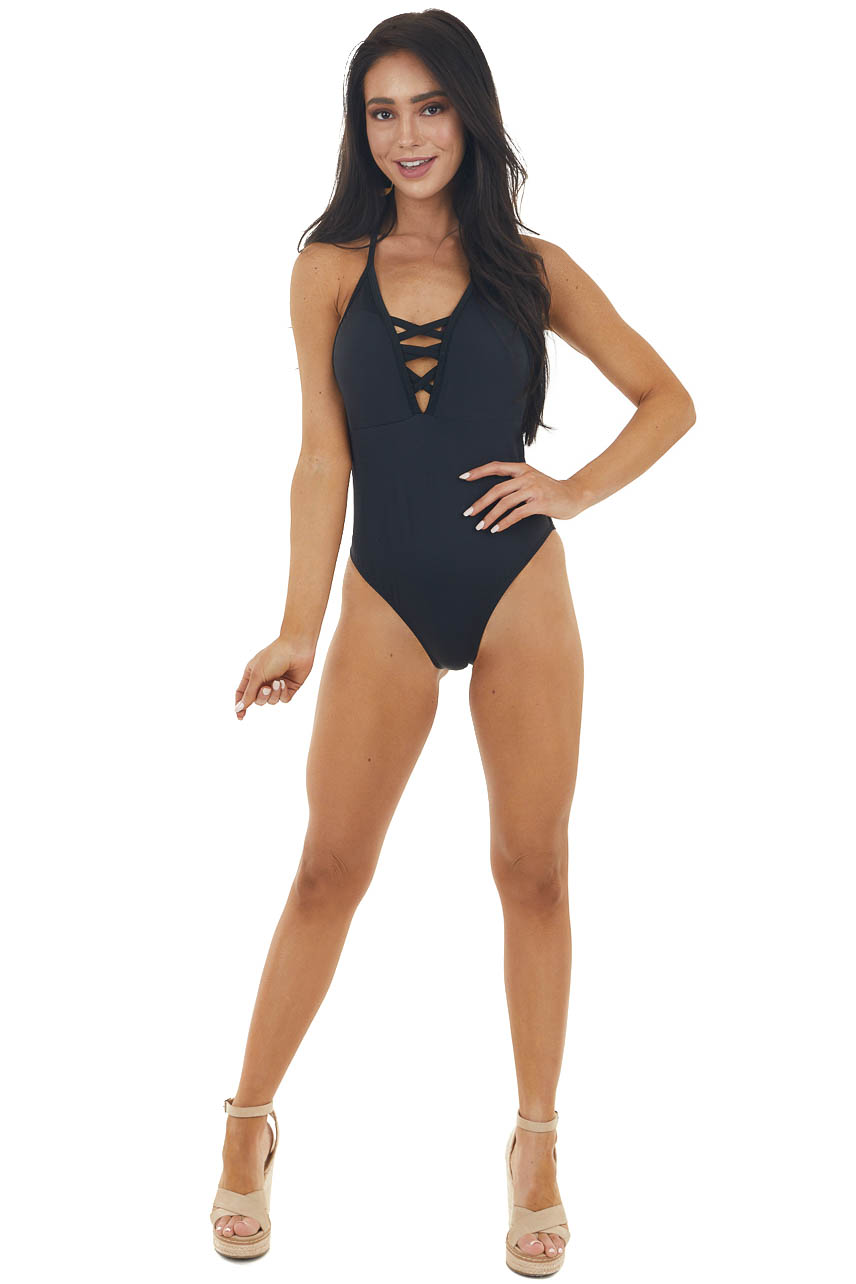 Black Halter Tie One Piece Swimsuit with Lace Up V Neck