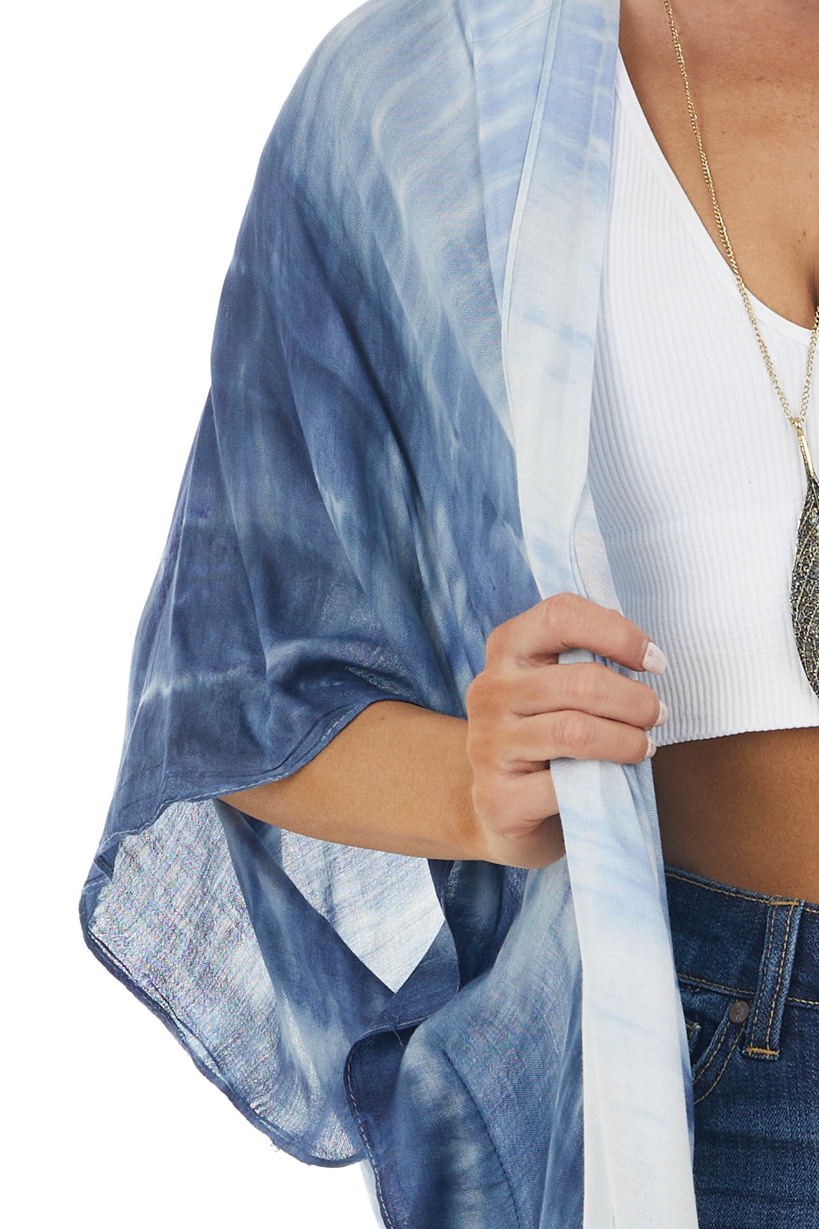 Dusty Blue Tie Dye Open Front Kimono with Side Slits