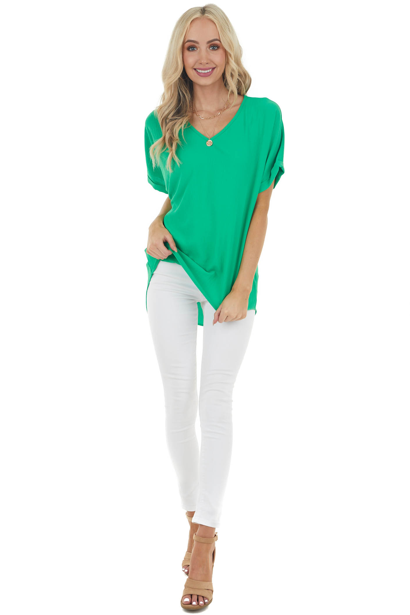 Jade Green Short Sleeve V Neck Woven Top with High Low Hem