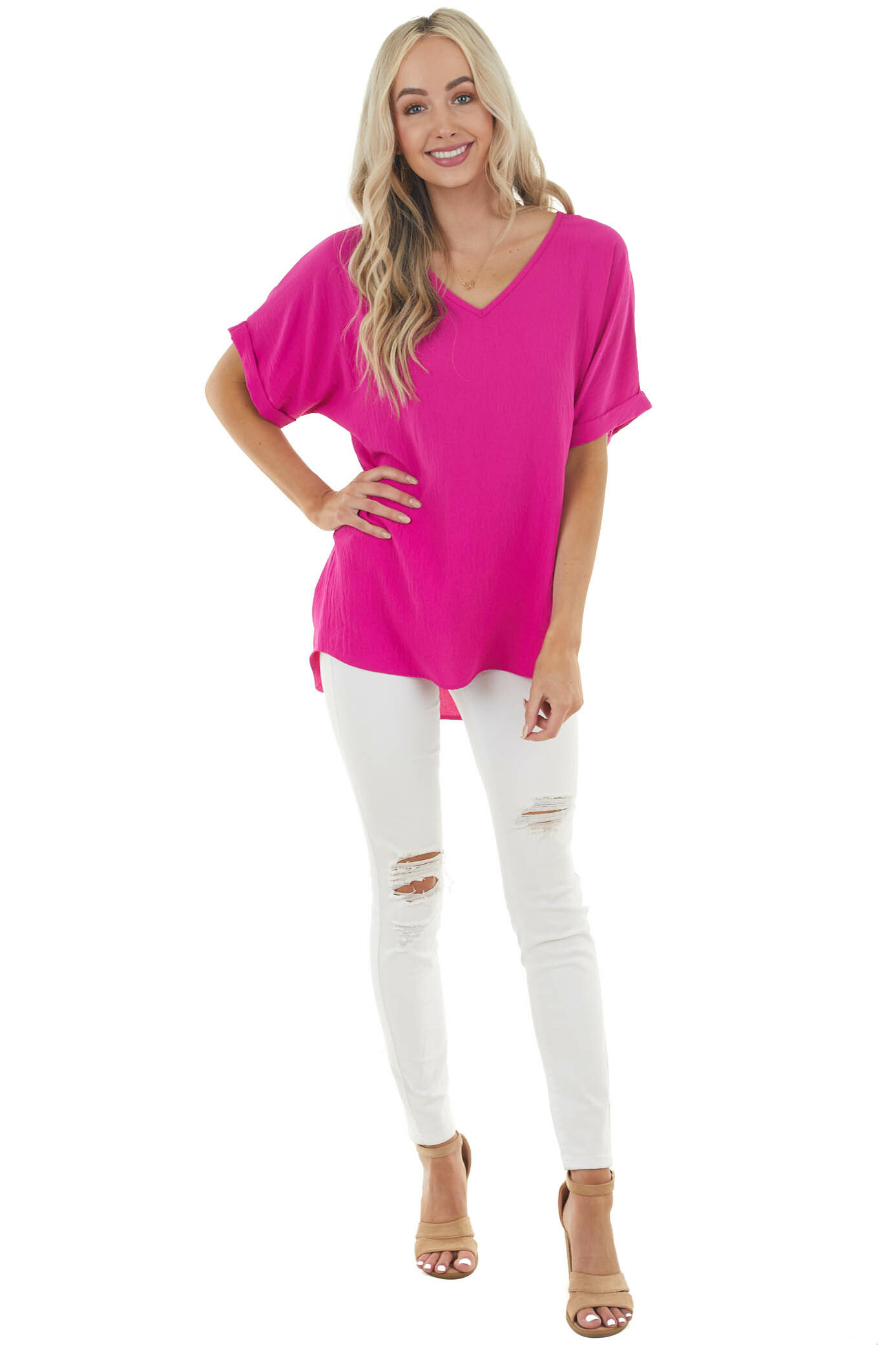 Fuchsia Pink Short Sleeve V Neck Woven Top with High Low Hem