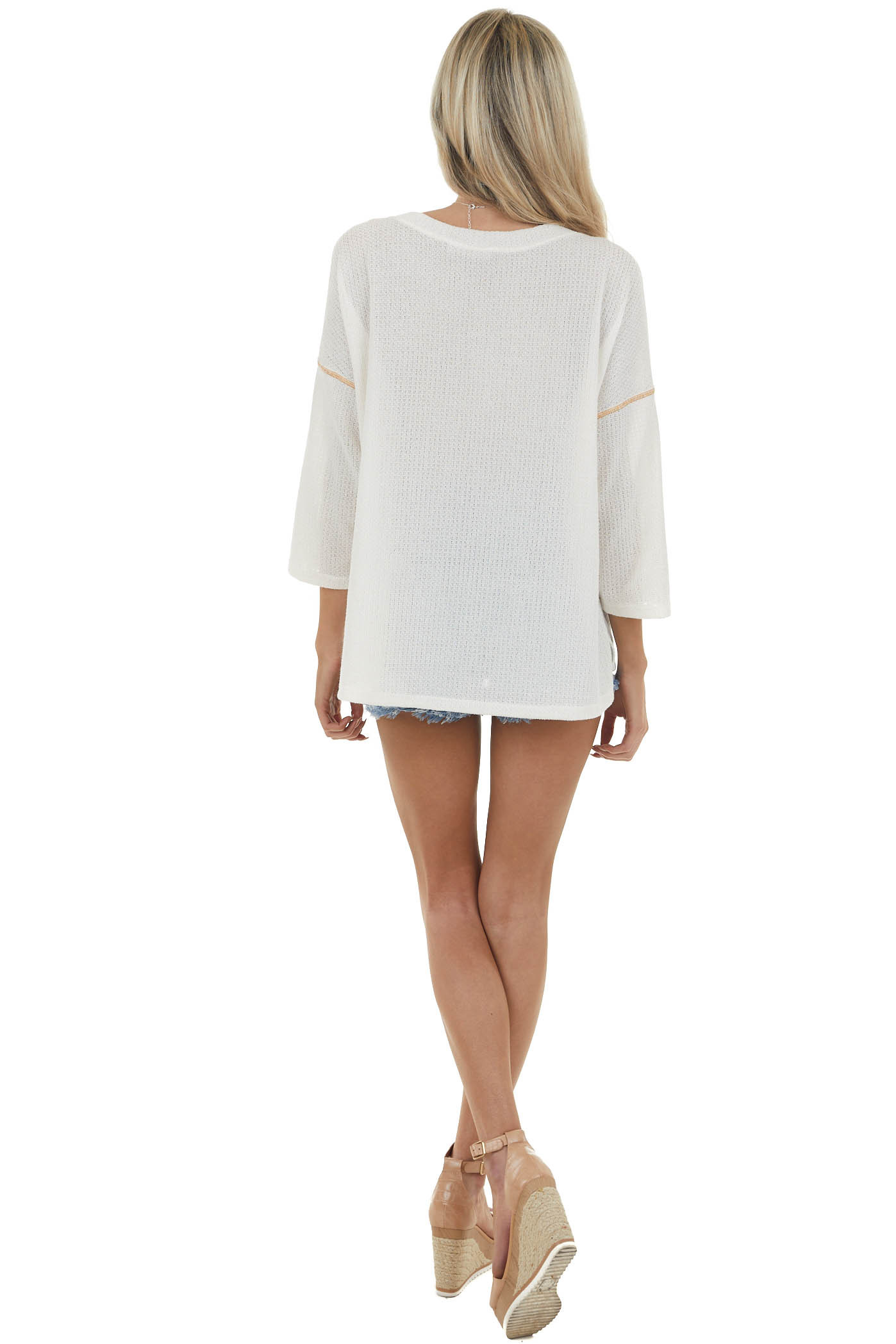 Cream Drop Shoulder Textured Knit Top with Side Slits