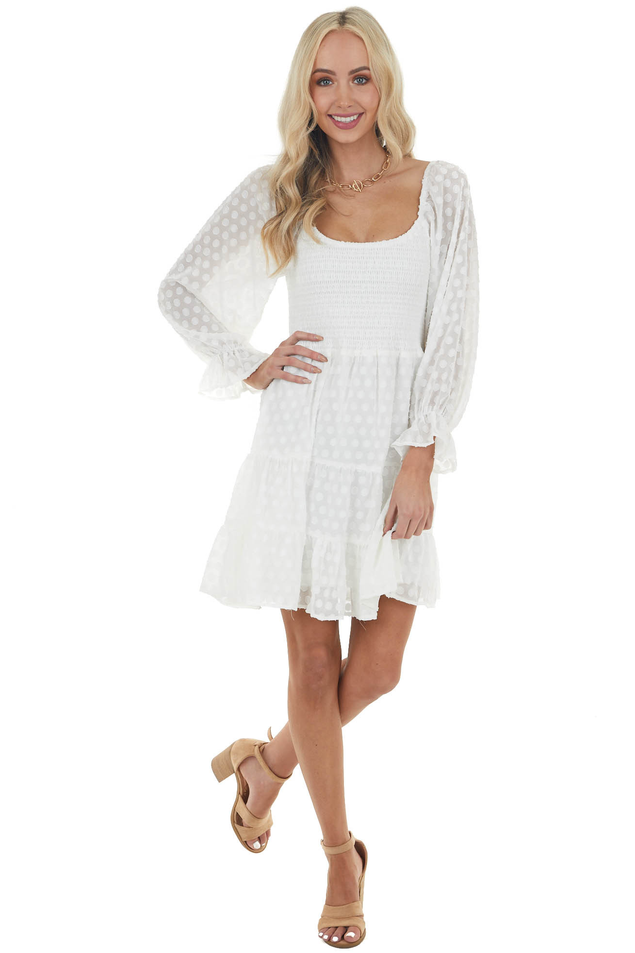 Ivory Swiss Dot Short Tiered Dress with Long Bubble Sleeves