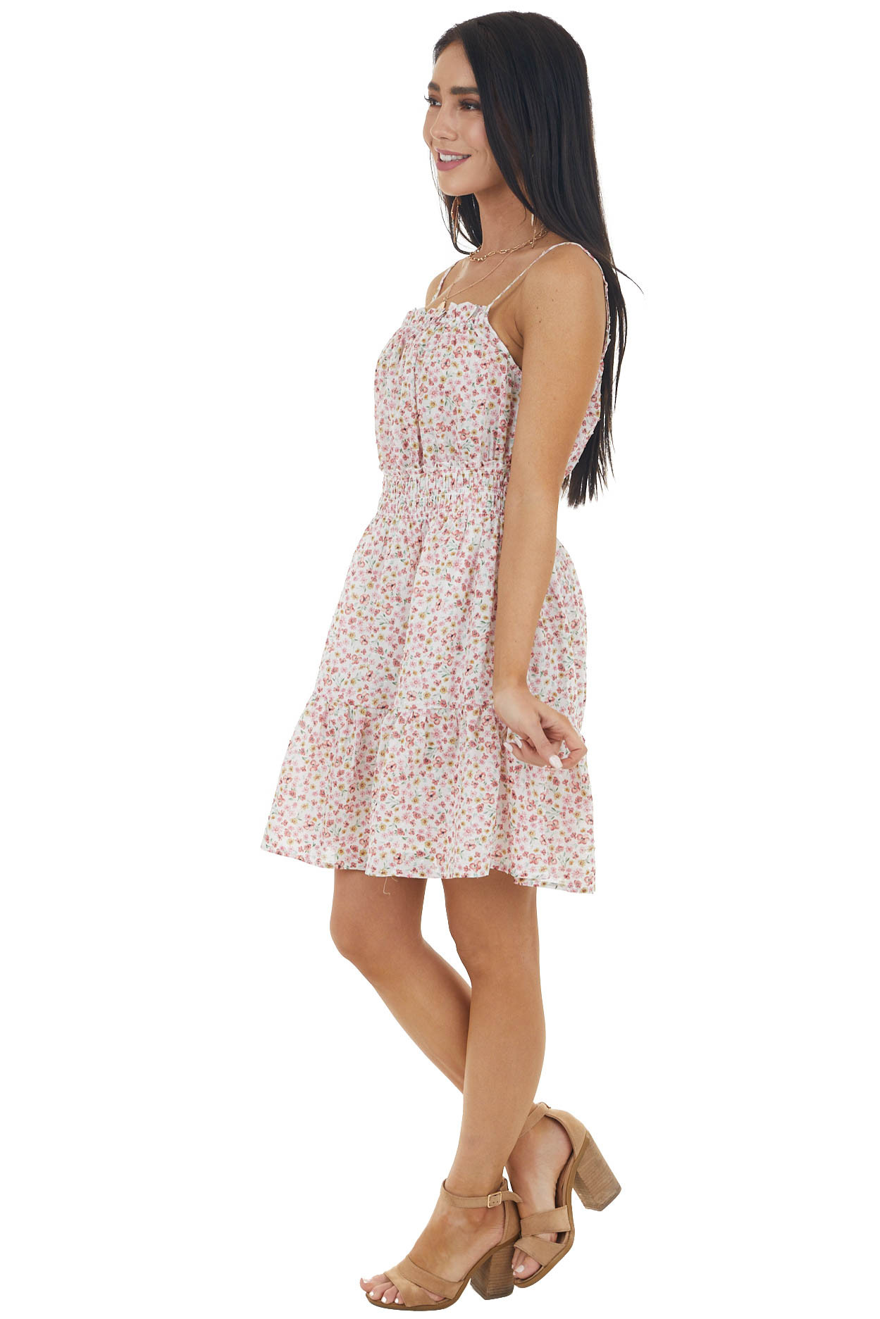 Pearl and Punch Floral Sleeveless Swiss Dot Short Dress
