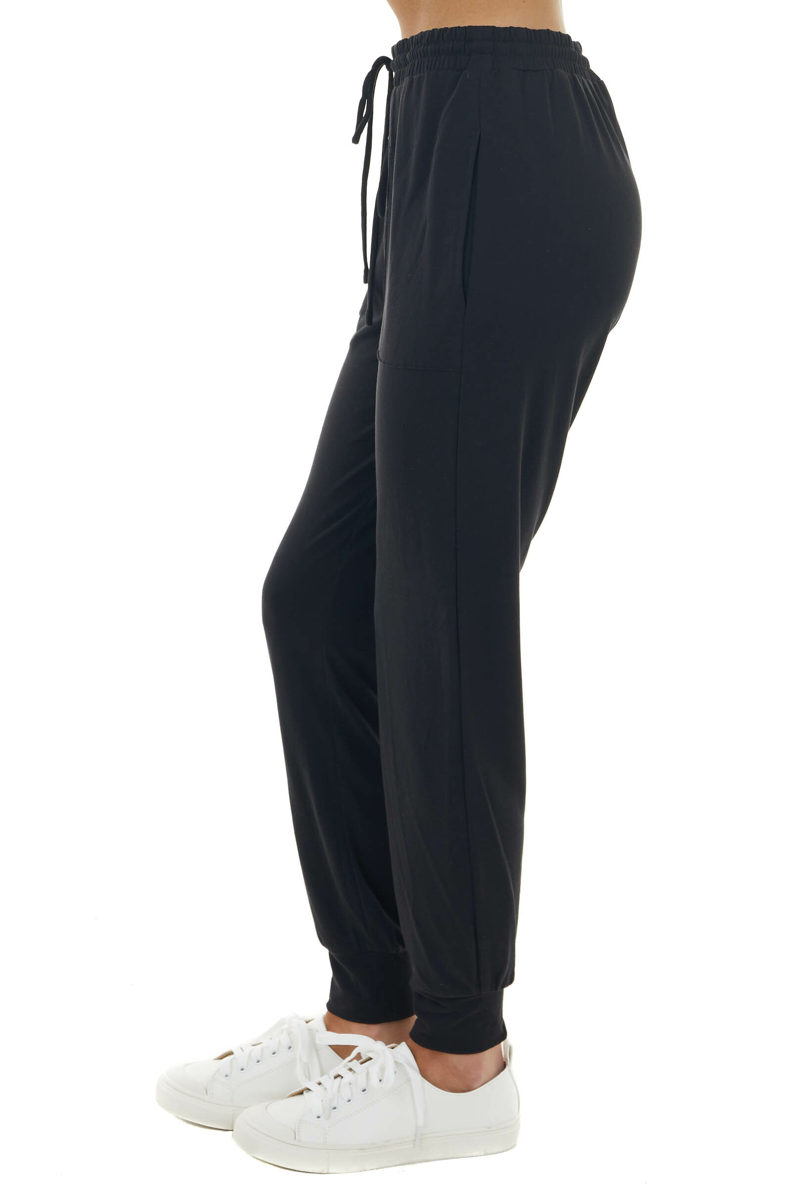 Black Stretchy Knit Joggers with Functional Drawstring