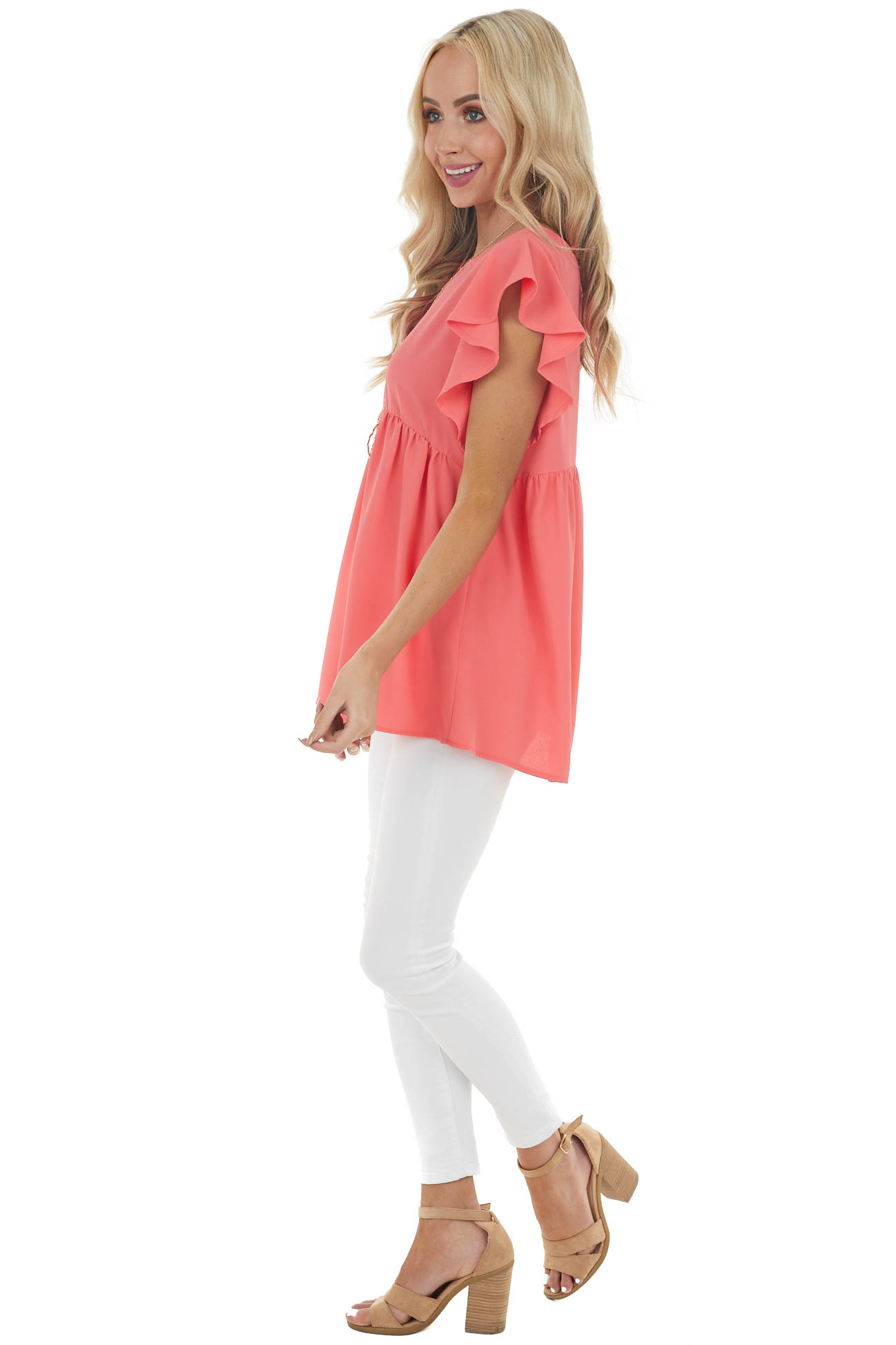 Coral Babydoll Woven Top with Short Flutter Sleeves