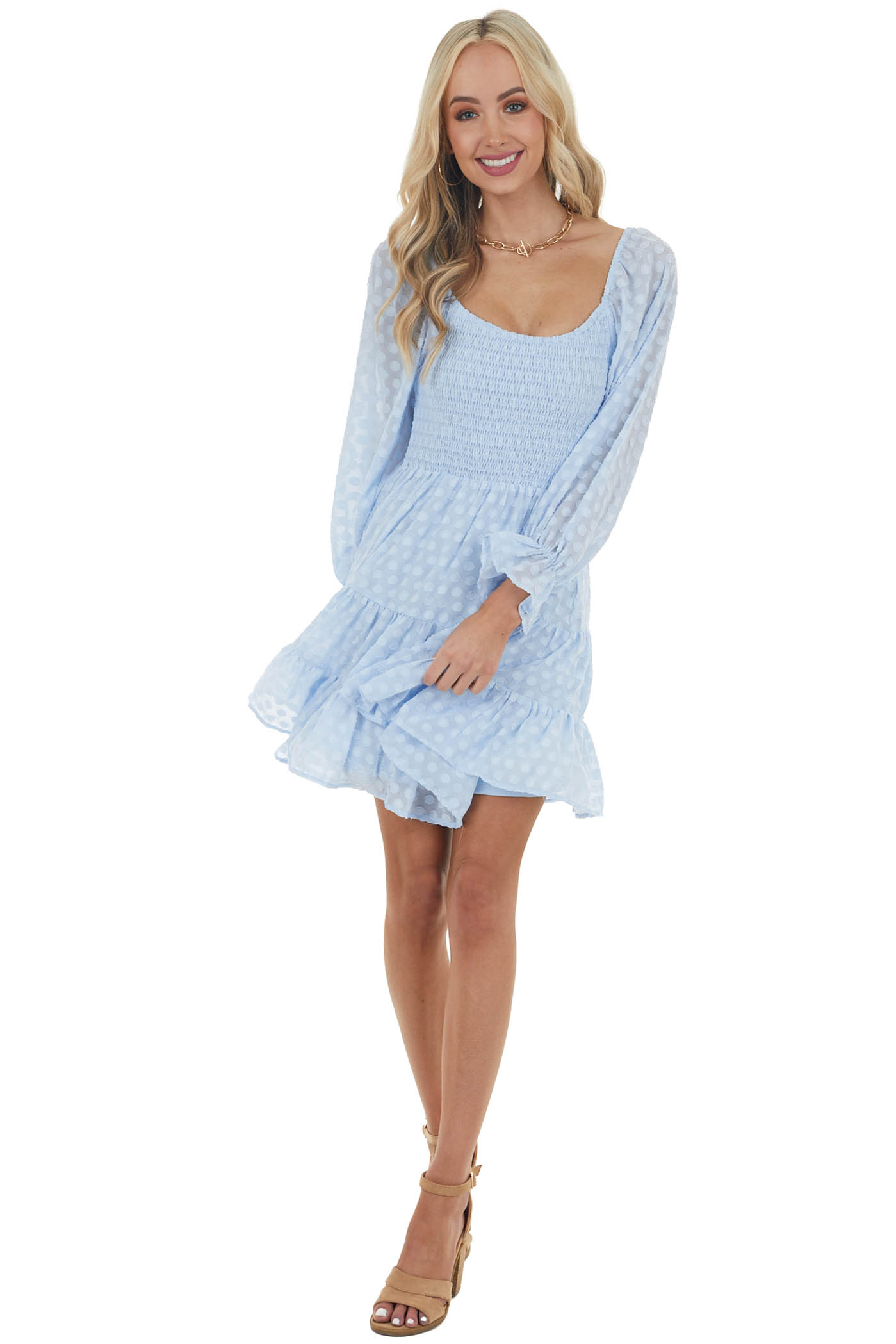 Baby Blue Swiss Dot Short Tiered Dress with Bubble Sleevesv