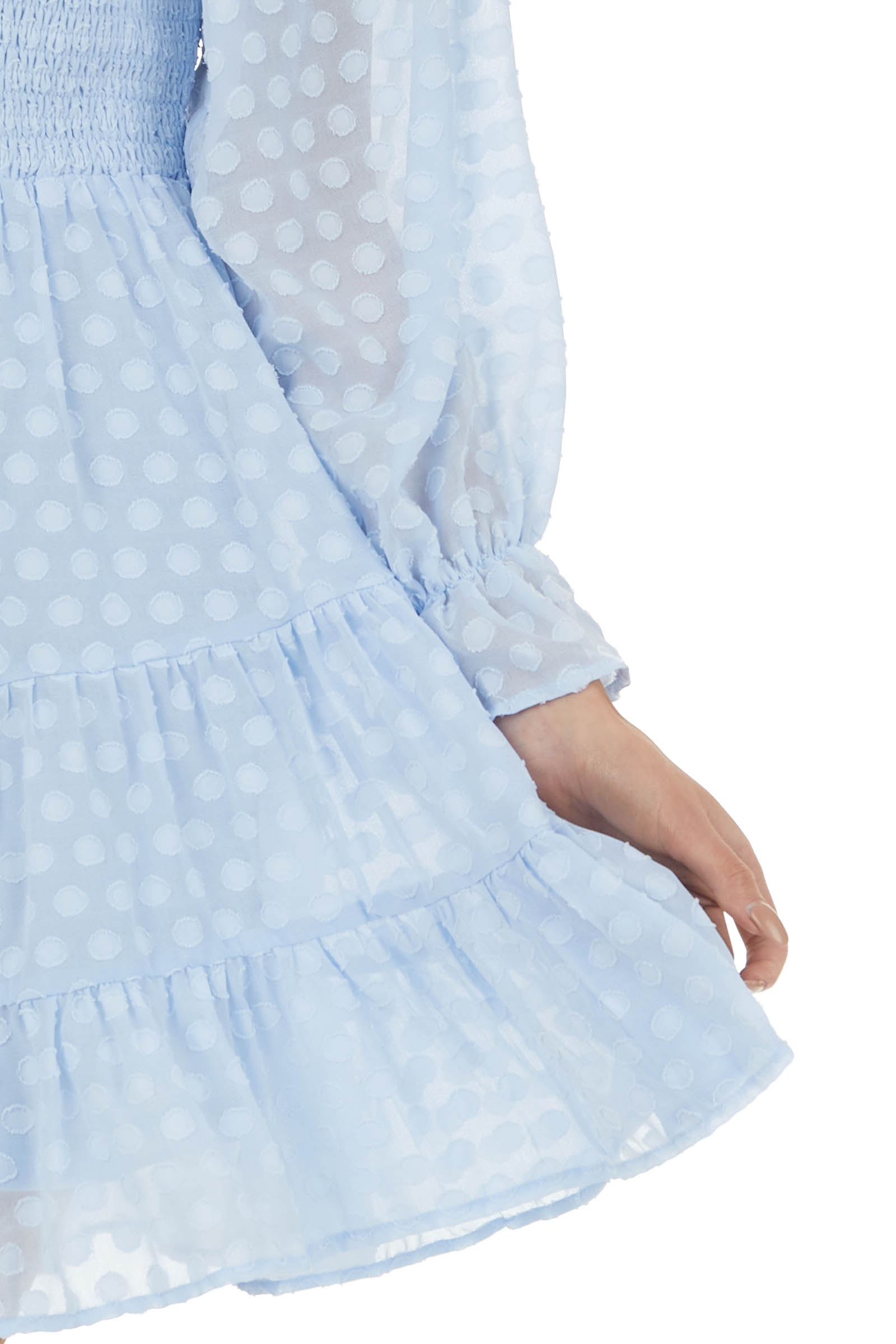 Baby Blue Swiss Dot Short Tiered Dress with Bubble Sleeves