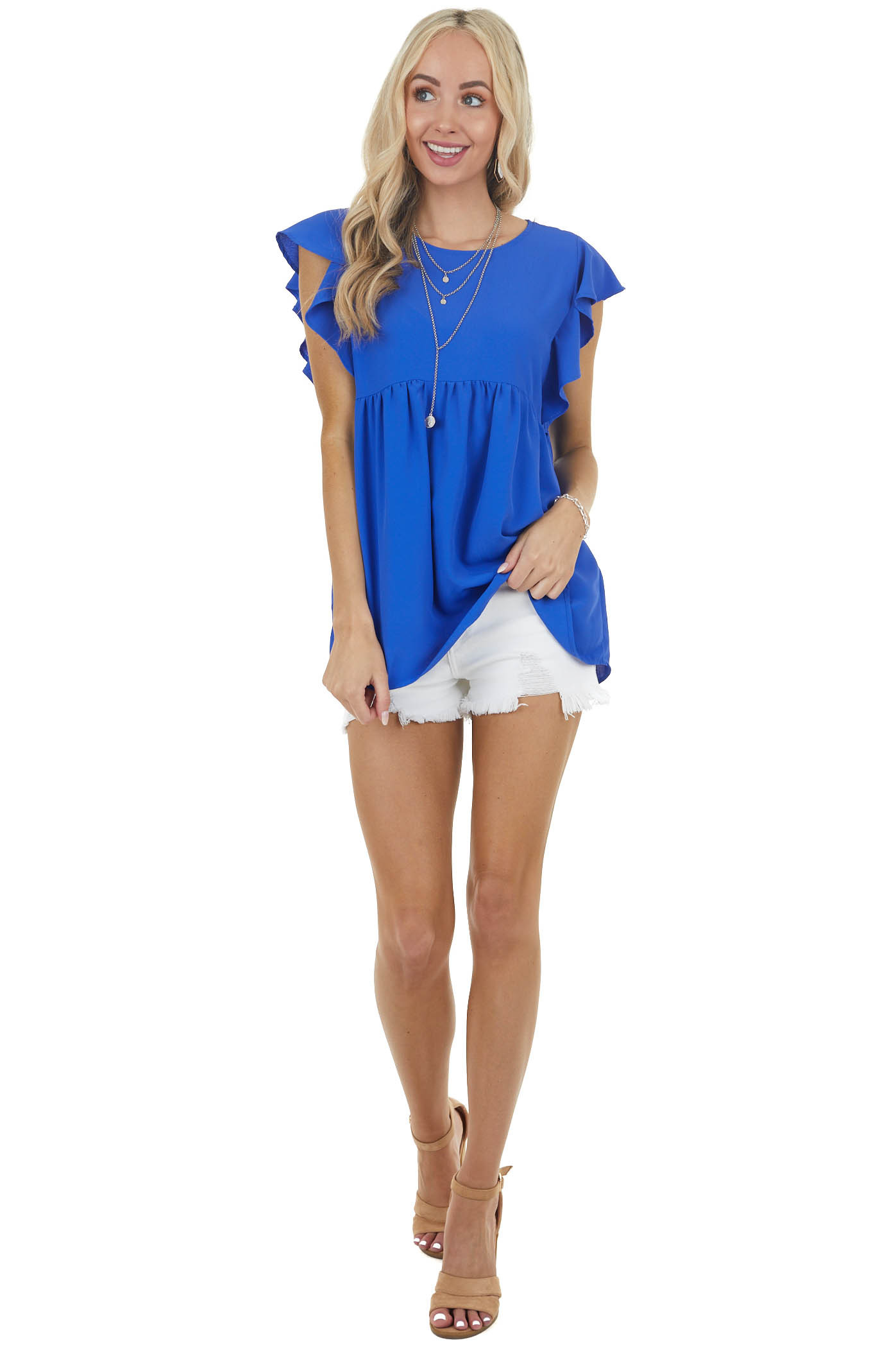 Royal Blue Babydoll Woven Top with Short Flutter Sleeves