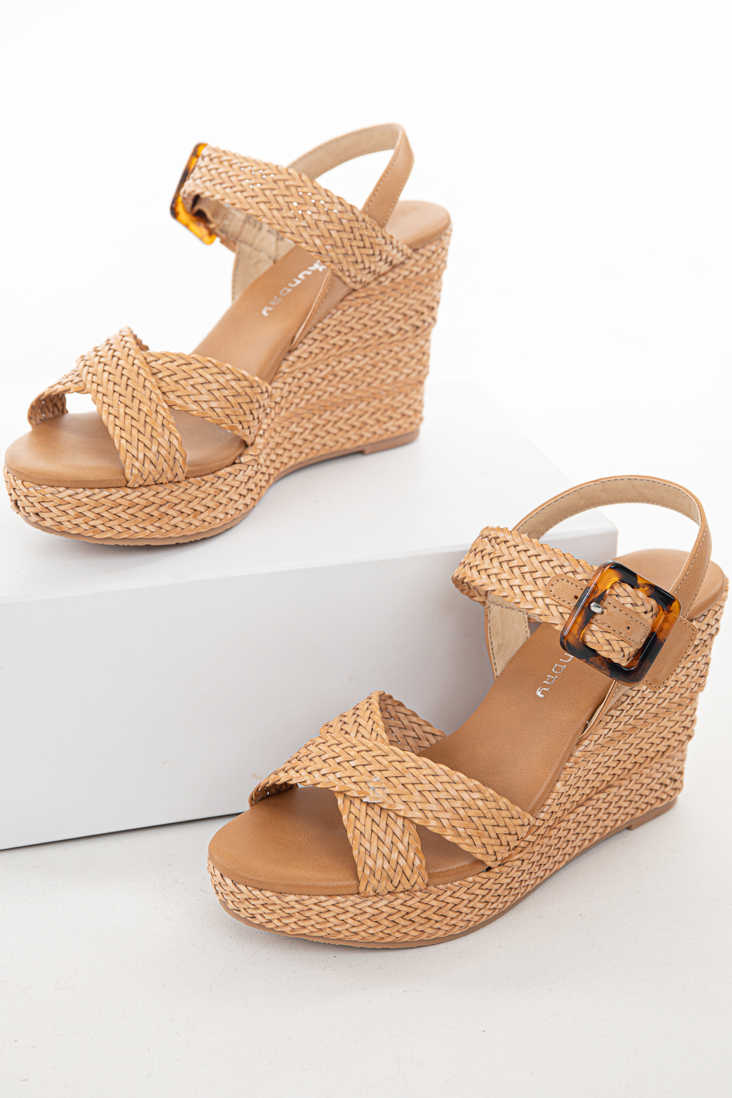 Camel Braided Espadrille Sling Back Wedges with Buckle