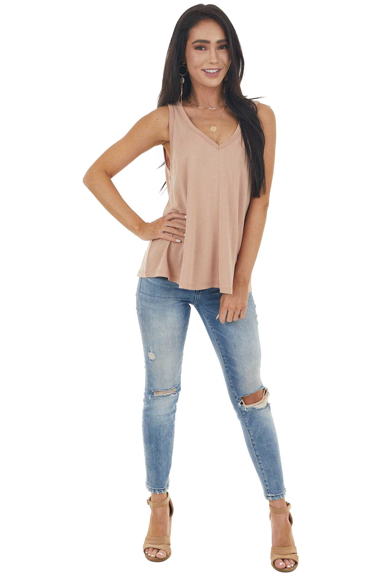 Apricot Solid Lightweight Knit Tank Top with V Neckline
