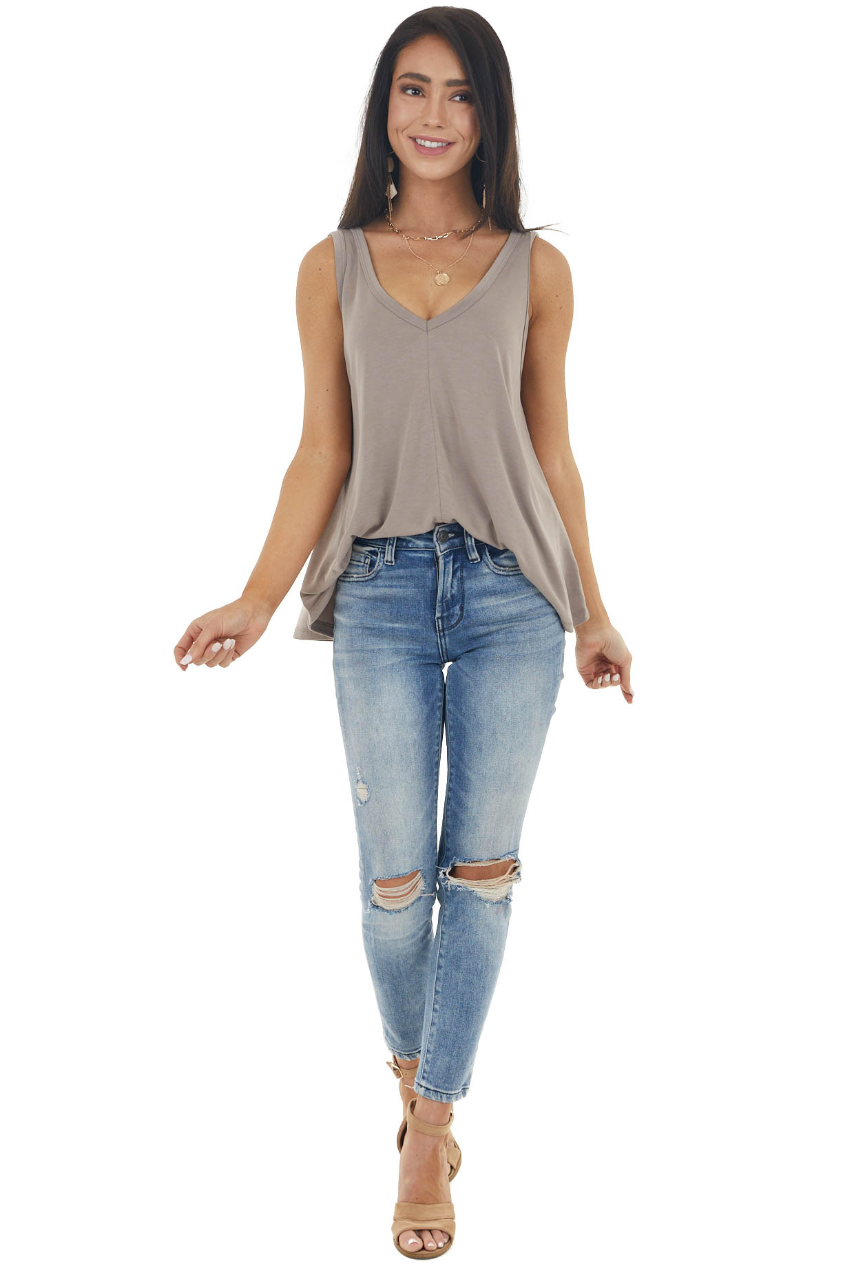 Taupe Solid Lightweight Knit Tank Top with V Neckline