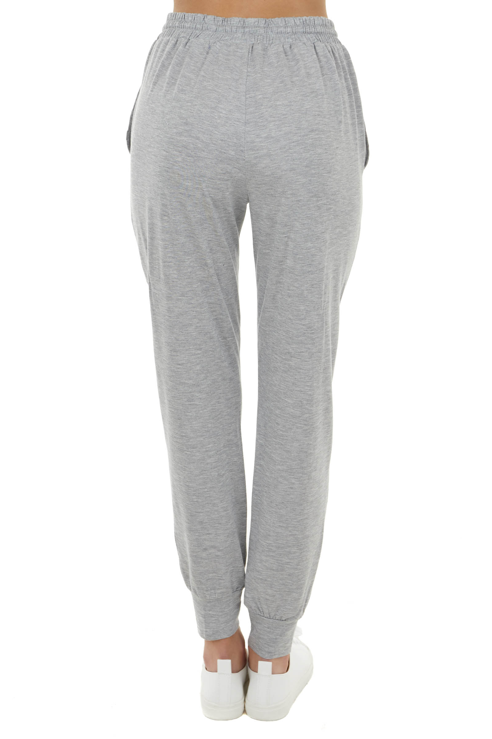Heather Stretchy Knit Joggers with Functional Drawstring