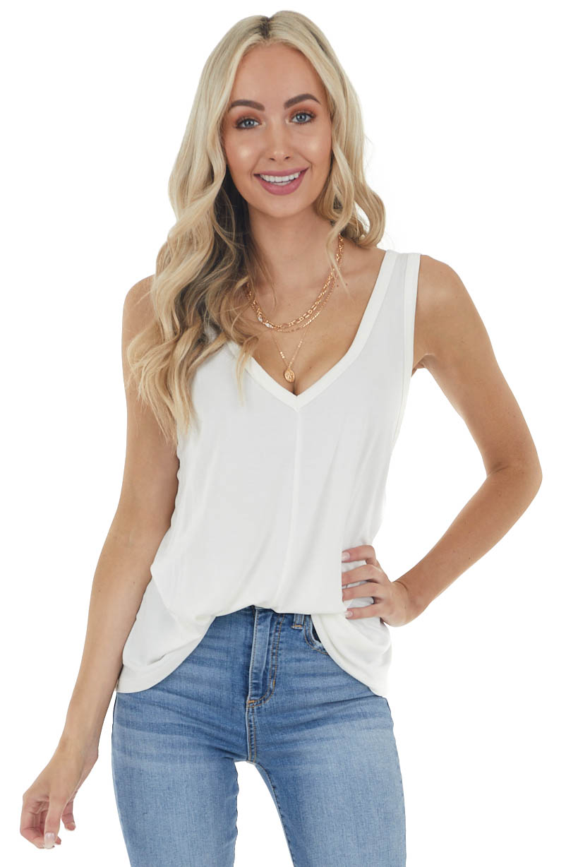 Off White Solid Lightweight Knit Tank Top with V Neckline
