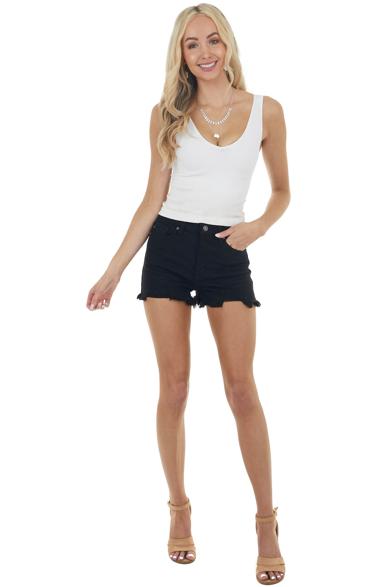Black High Rise Stretchy Jean Shorts with Frayed Hemline
