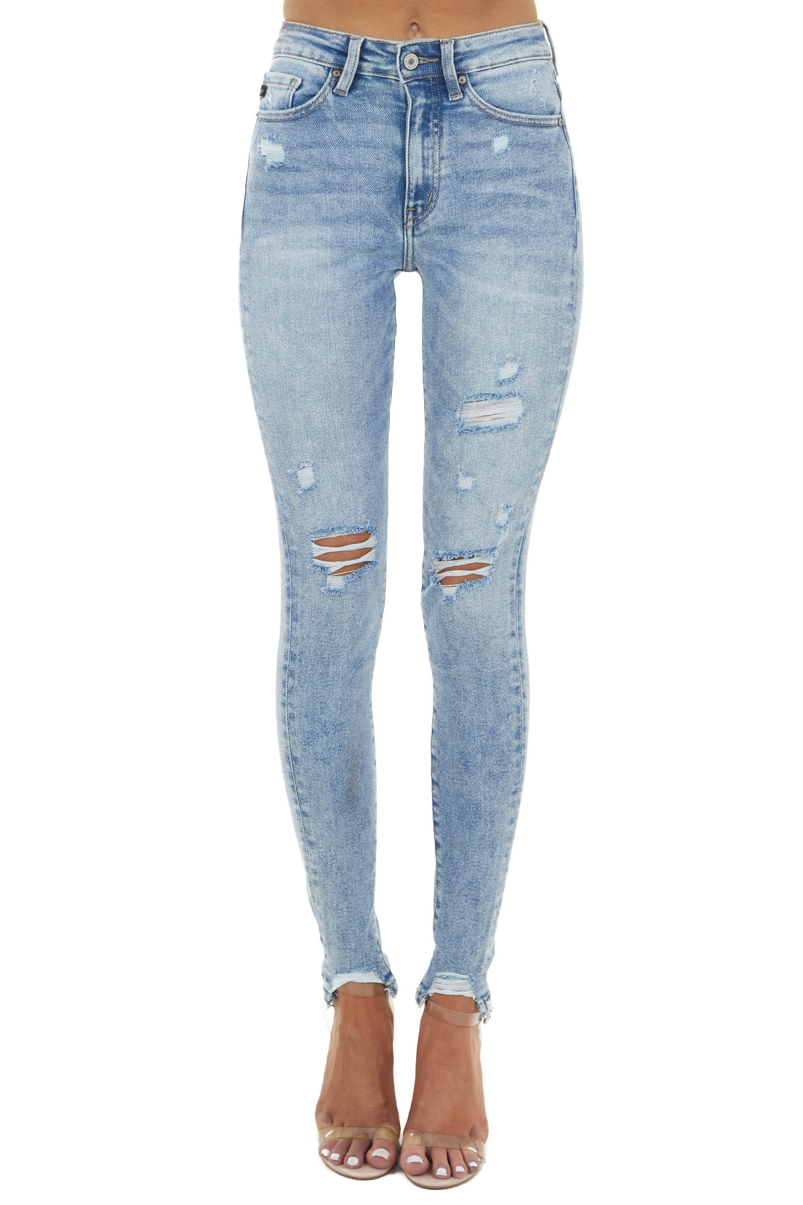 Light Wash High Rise Distressed Skinny Jeans with Cuffs
