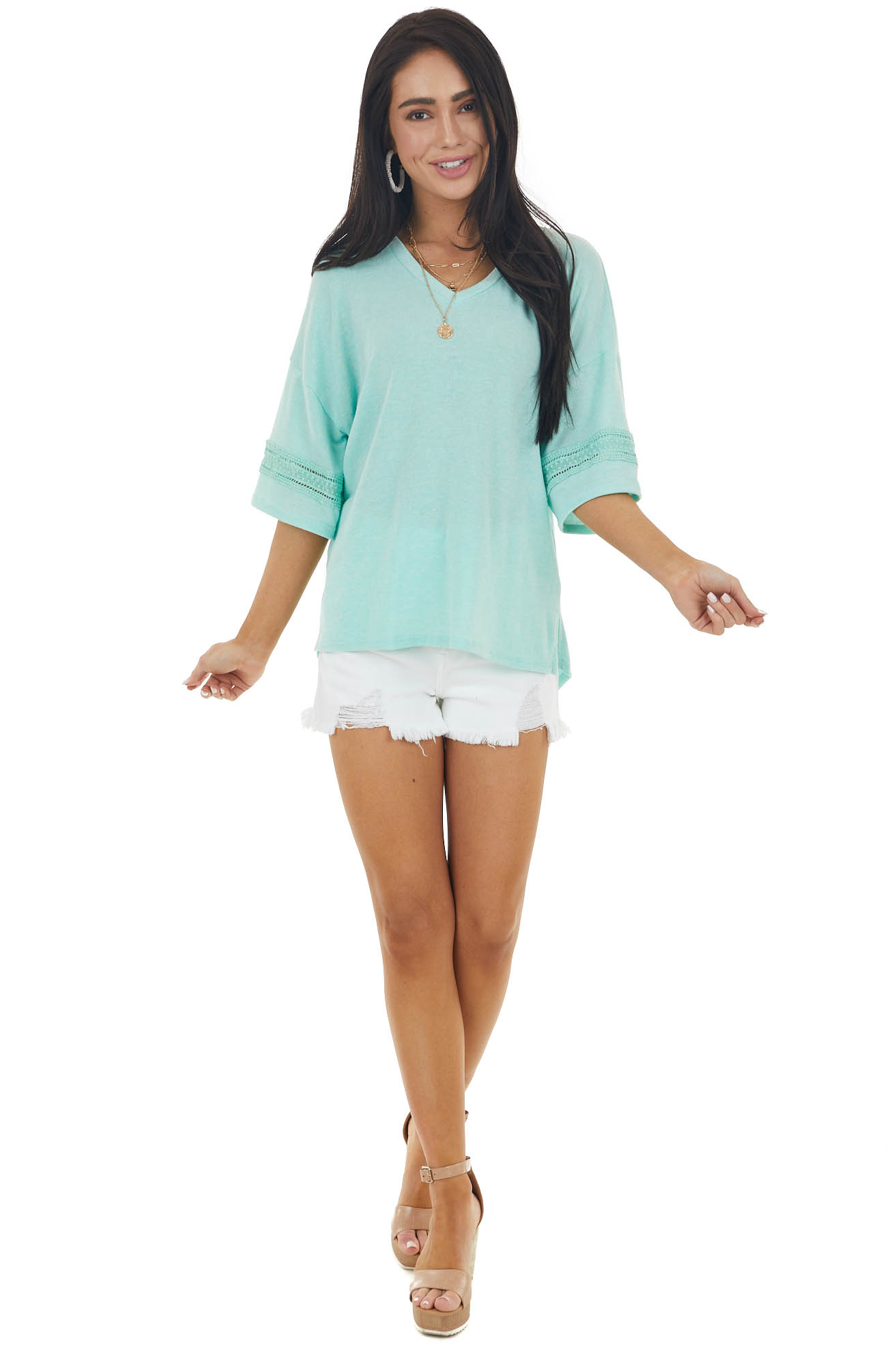 Mint Drop Sleeve Stretchy Knit Top with Crochet Details