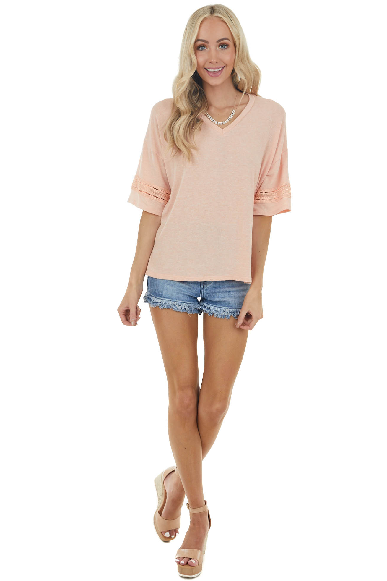 Melon Drop Sleeve Stretchy Knit Top with Crochet Details