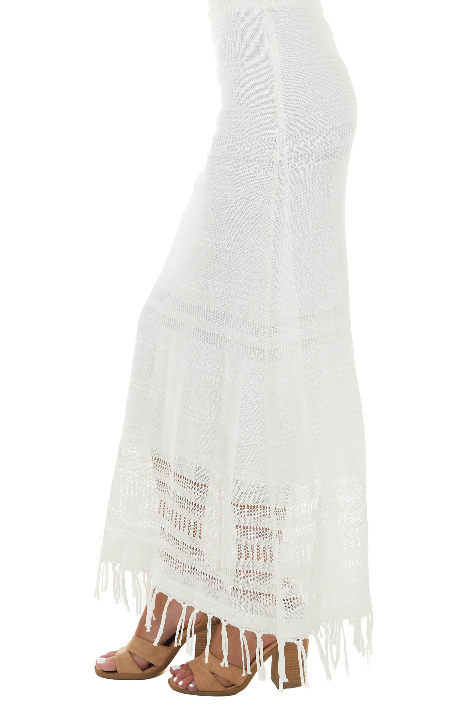 Ivory Loose Knit Maxi Skirt with Fringed Hemline Detail