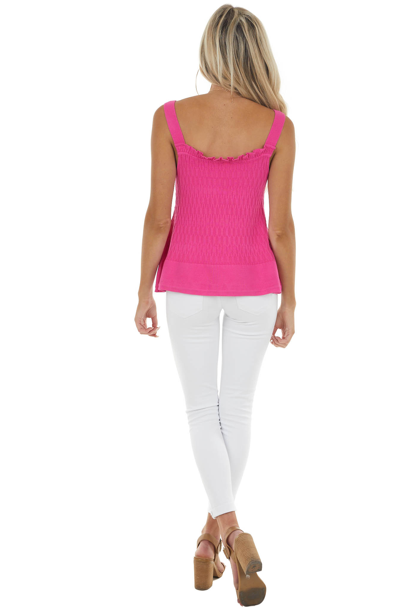 Fuchsia Sleeveless Textured Knit Top with Square Neckline