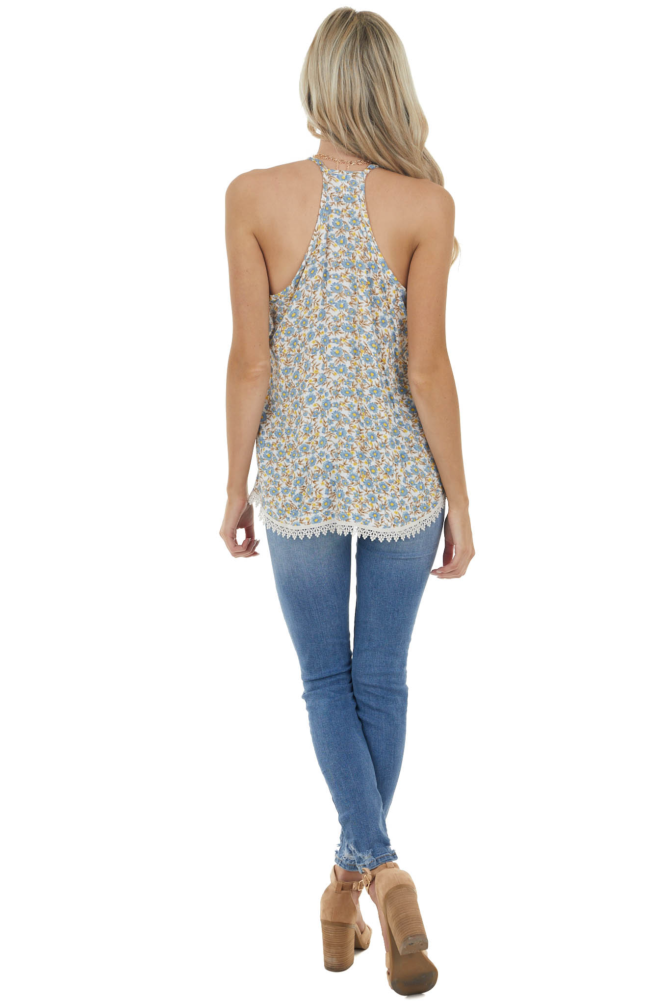 Ivory Floral Print Sleeveless Woven Top with Crochet Lace