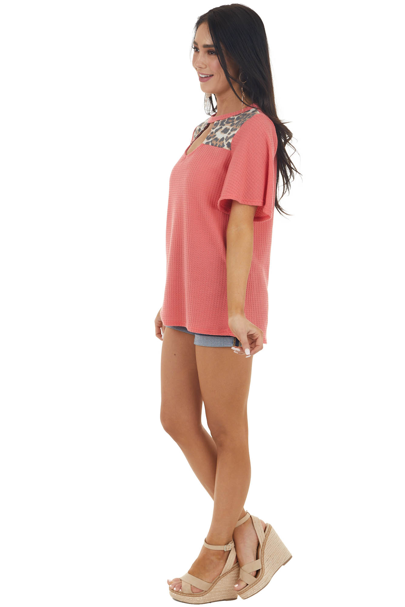 Rich Coral Short Sleeve Waffle Knit Top with Leopard Print