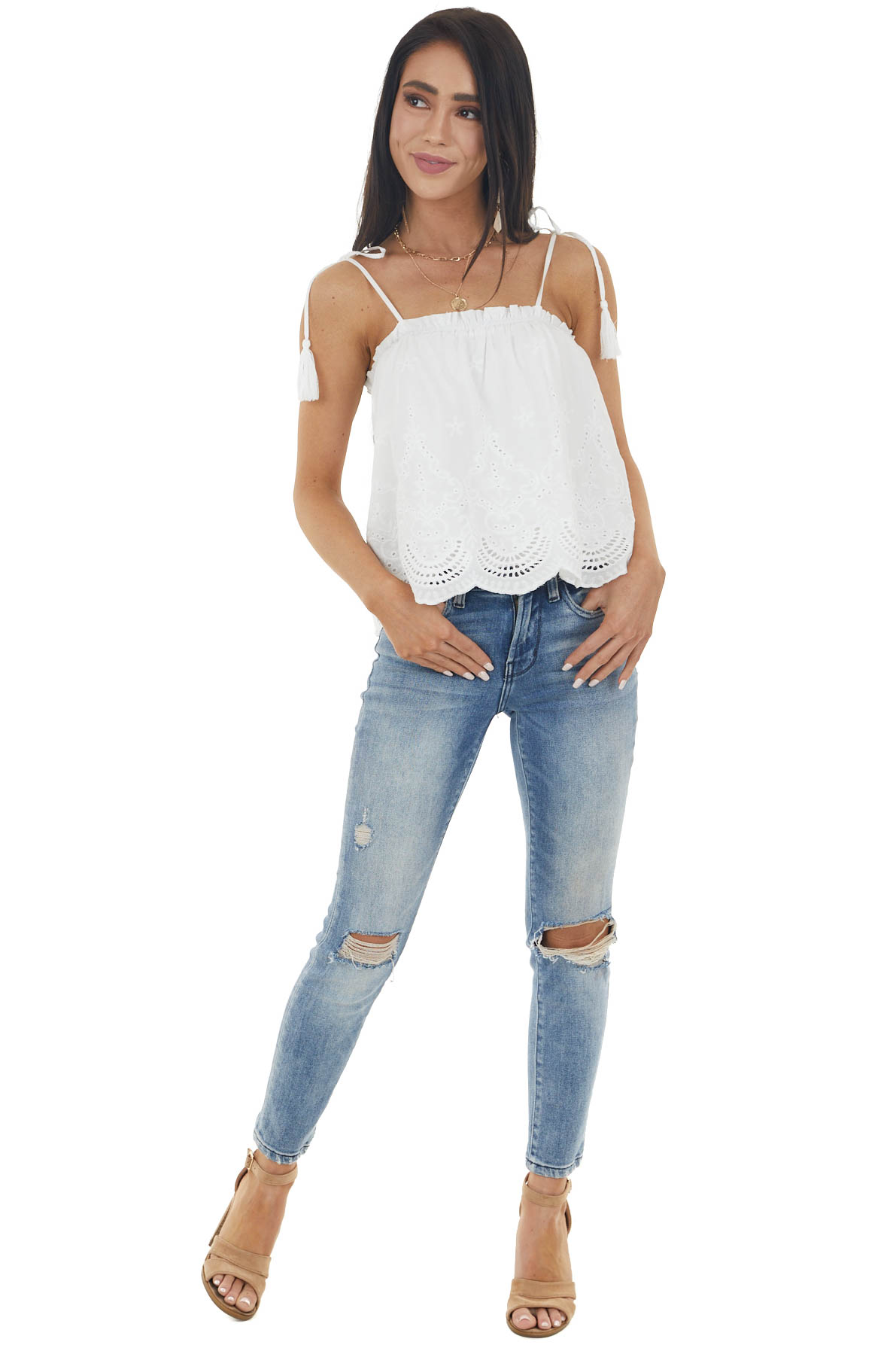 Off White Sleeveless Top with Eyelet Lace and Tassel Details