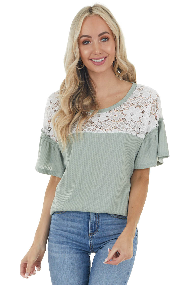 Dusty Sage Waffle Knit Short Sleeve with Lace Yoke Detail