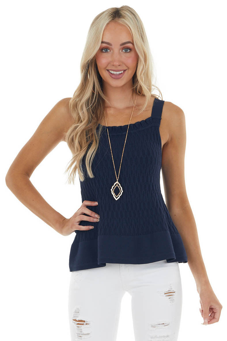 Navy Sleeveless Textured Knit Top with Square Neckline