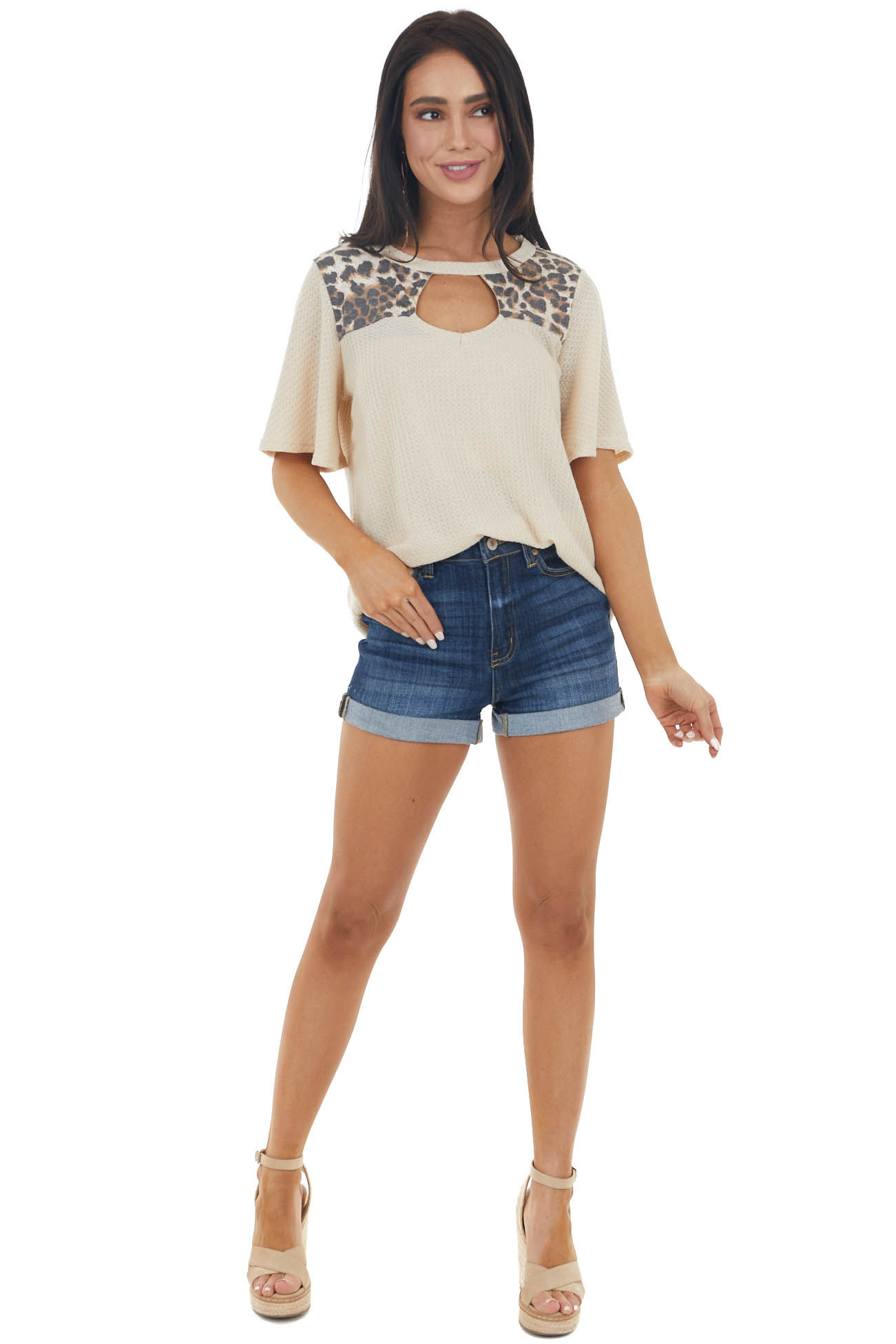 Desert Sand Short Sleeve Waffle Knit Top with Leopard Print