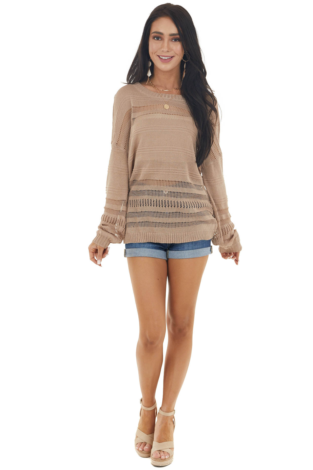 Latte Lightweight Long Sleeve Stretchy Loose Knit Top