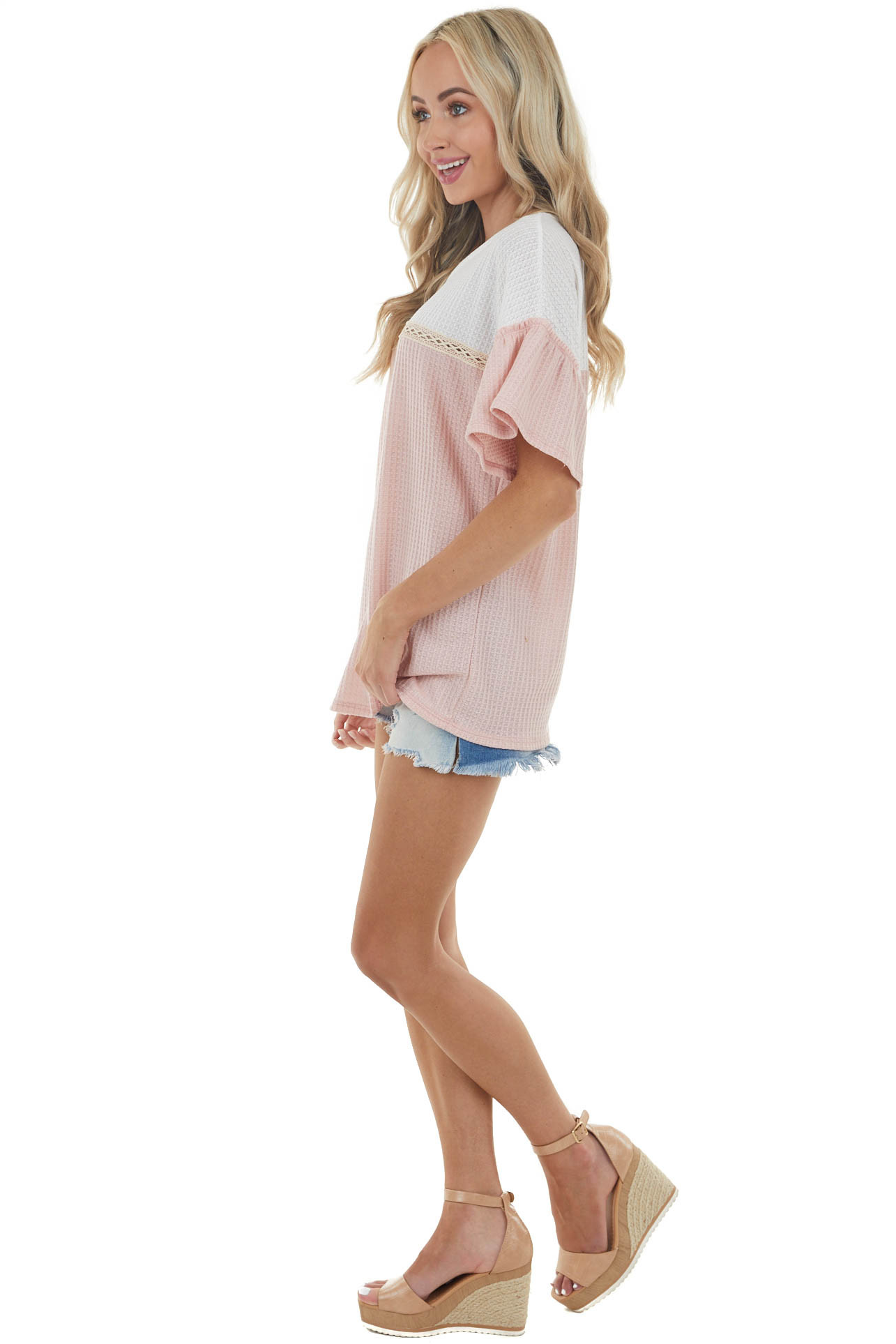 Dusty Blush Short Sleeve Waffle Knit Top with Lace Detail