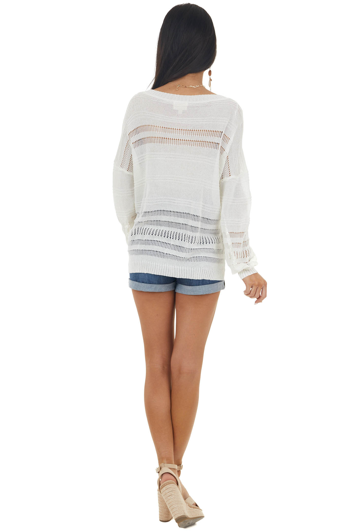 Ivory Lightweight Long Sleeve Stretchy Loose Knit Top