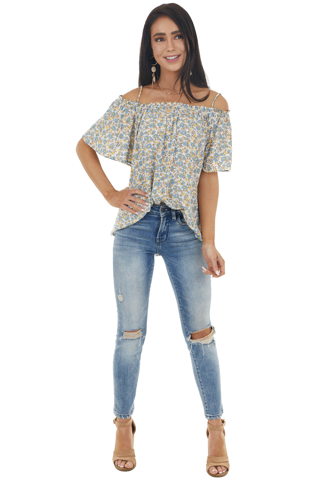 Ivory Floral Print Cold Shoulder Blouse with Frill Detail
