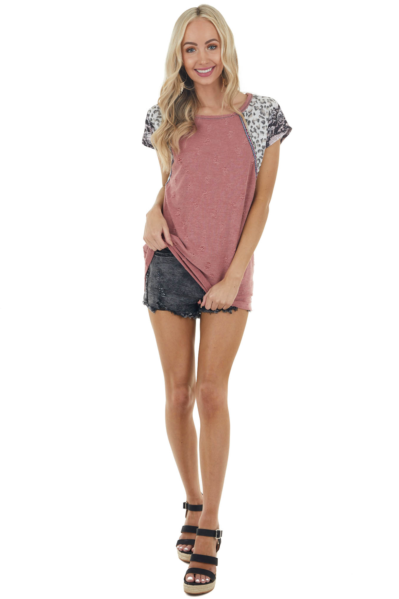 Berry Distressed Knit Top with Multiprint Short Sleeves