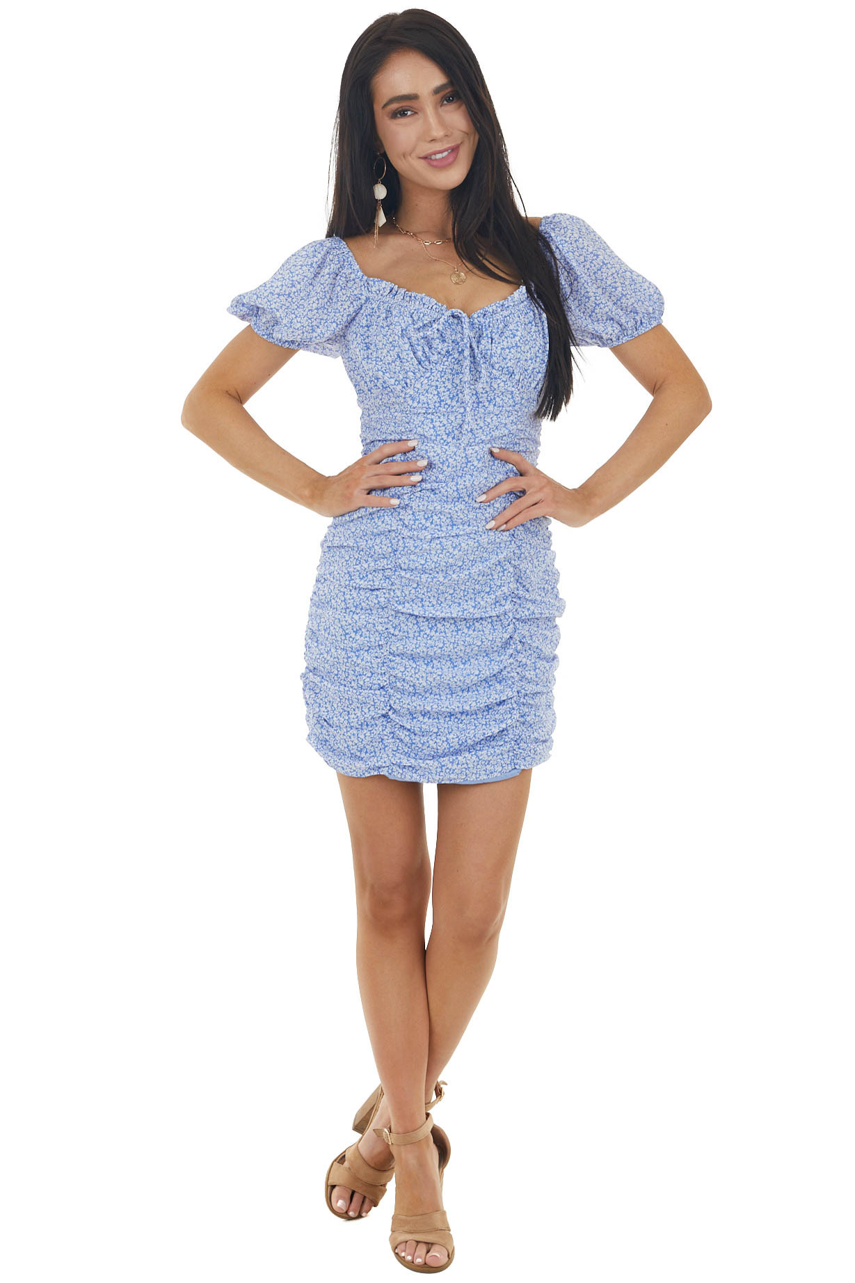 Dusty Blue and Eggshell Ditsy Floral Print Mini Ruched Dress
