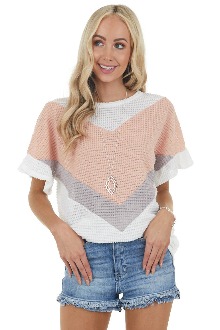 Ivory Chevron Colorblock Waffle Knit Short Sleeve Top