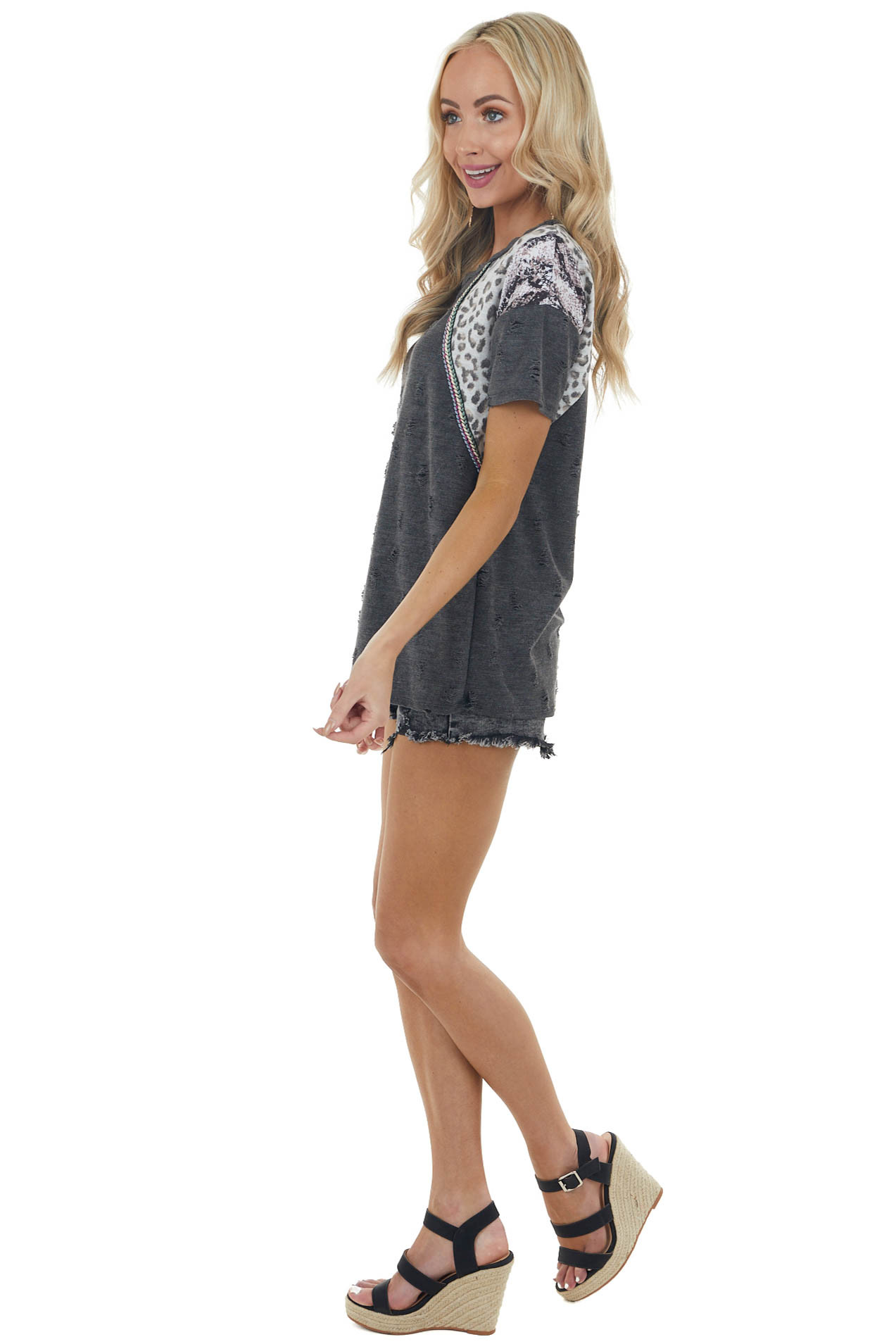 Charcoal Multiprint Short Sleeve Knit Top with Distressing